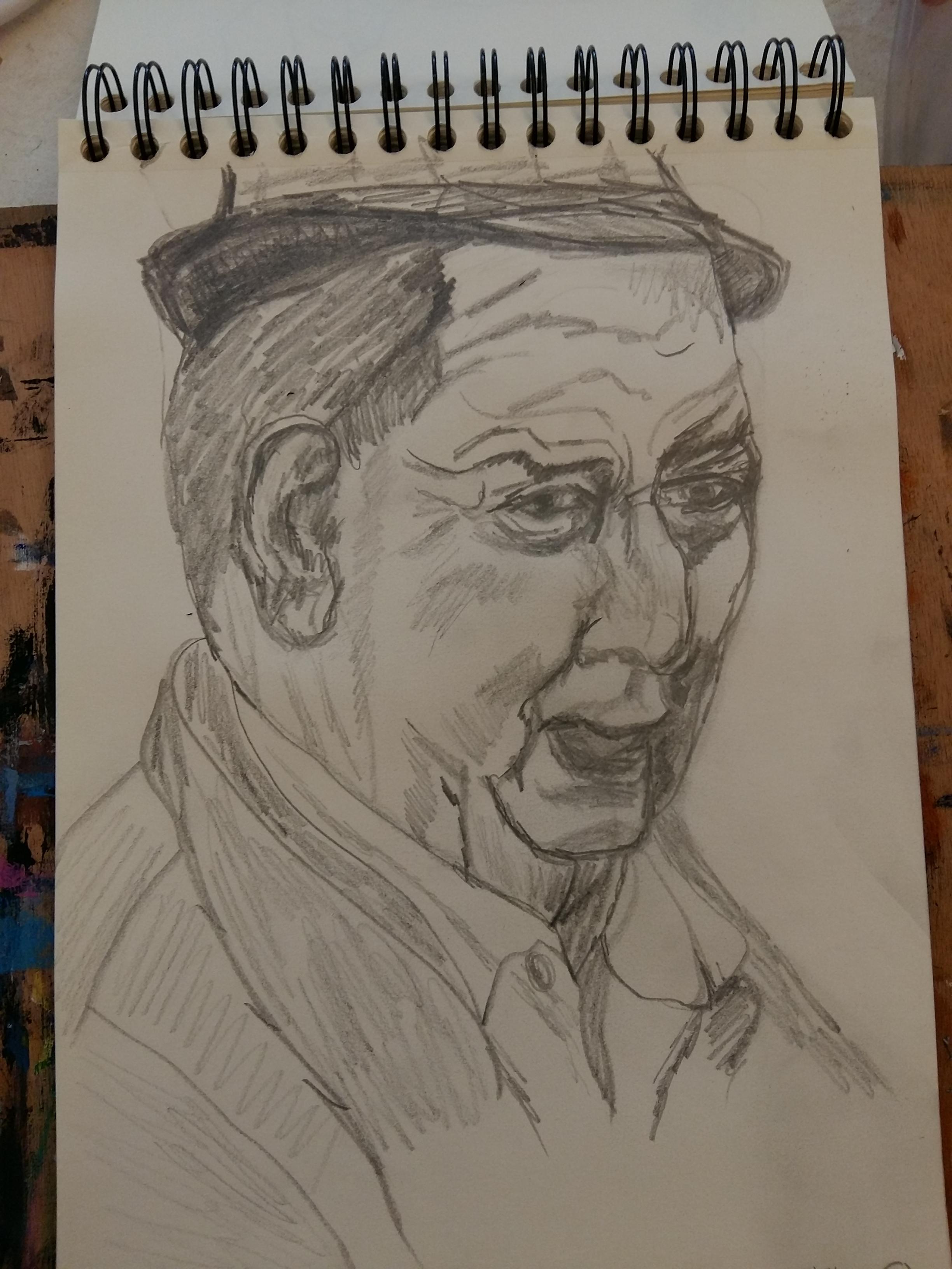 Portraits crayon papier hachures homme 3/4 face avec chapeau  cours de dessin