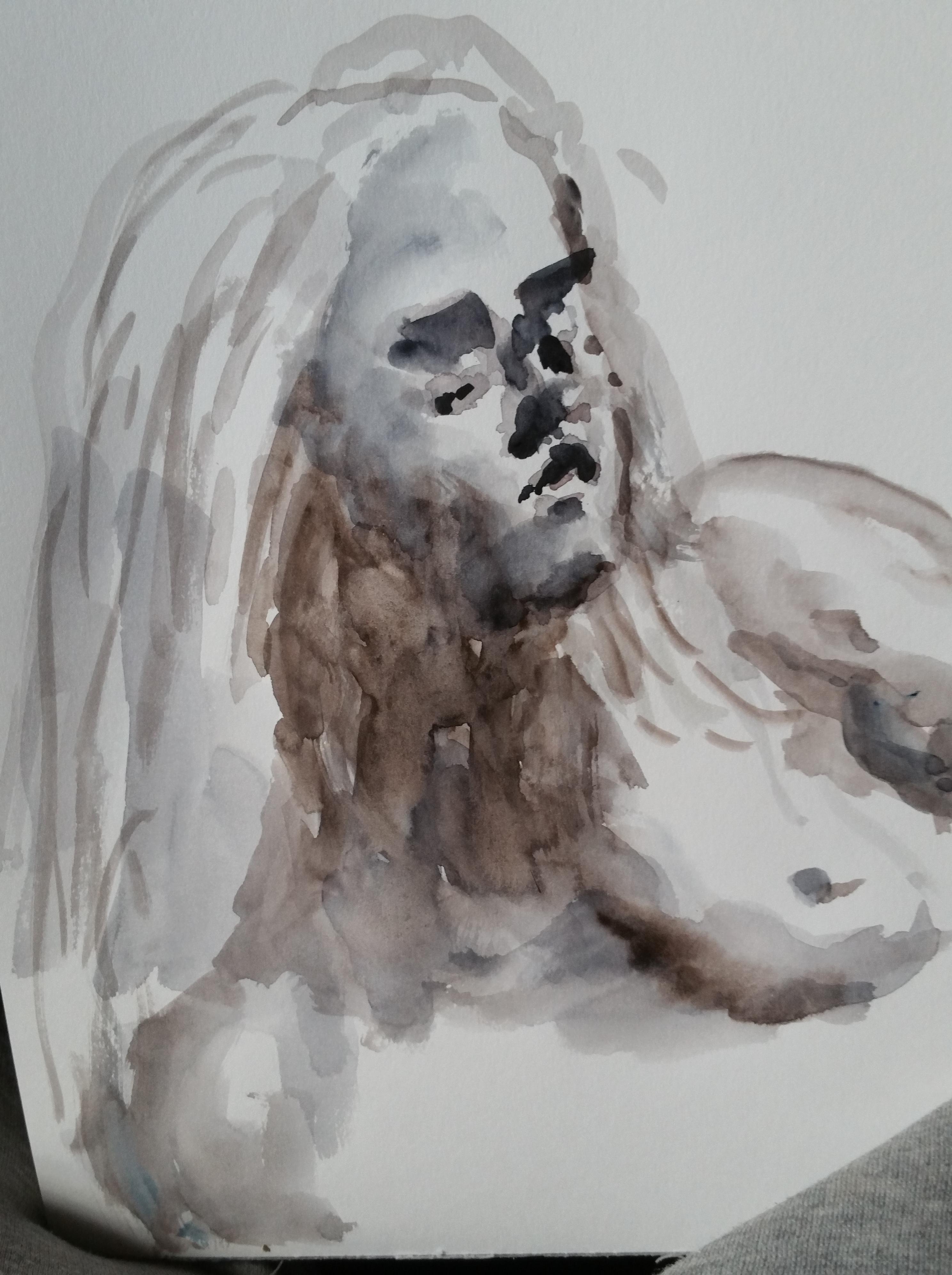 Portrait aquarelle femme buste  cours de dessin