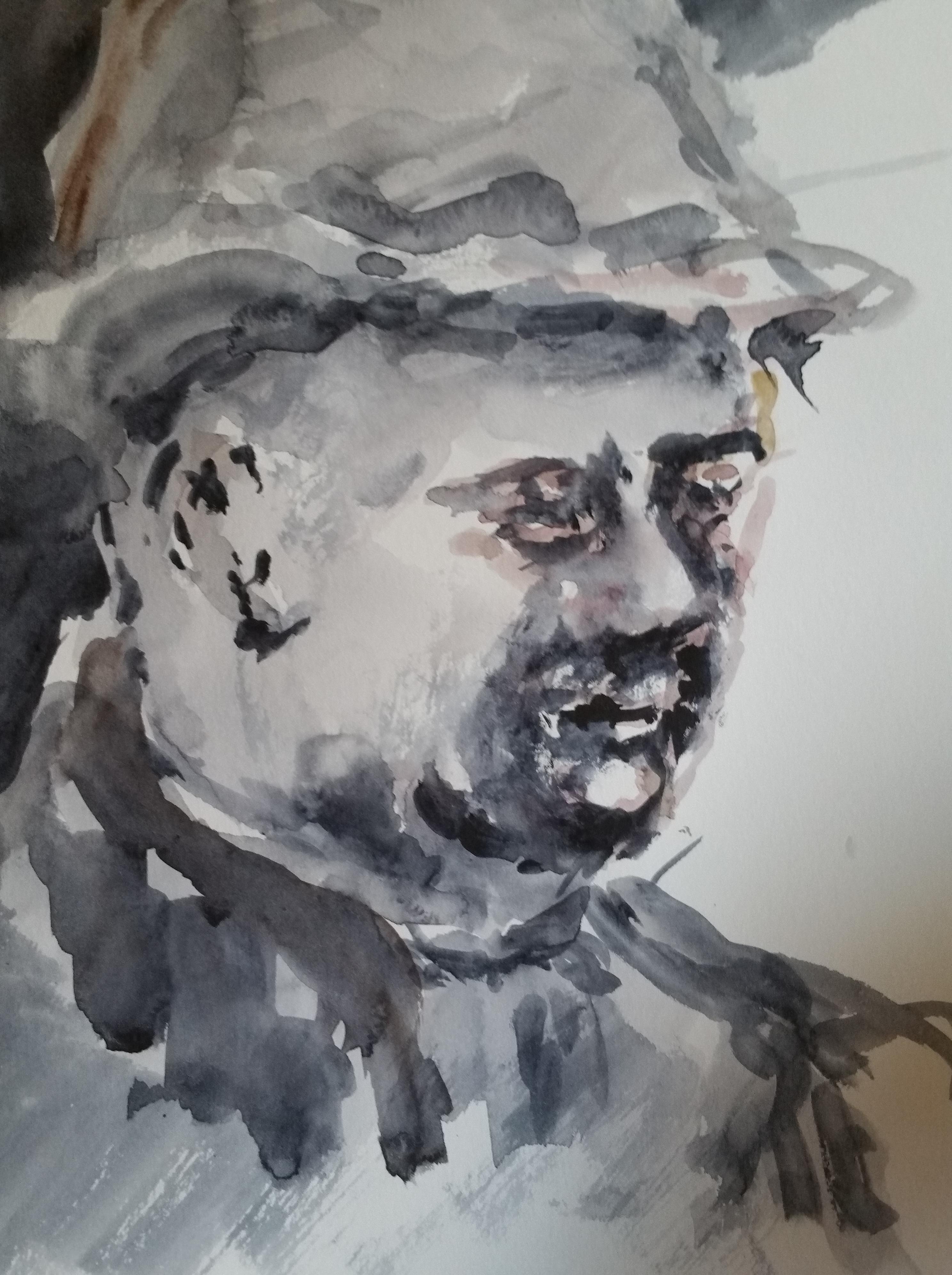 Portrait trois quarts face homme chapeau  cours de dessin