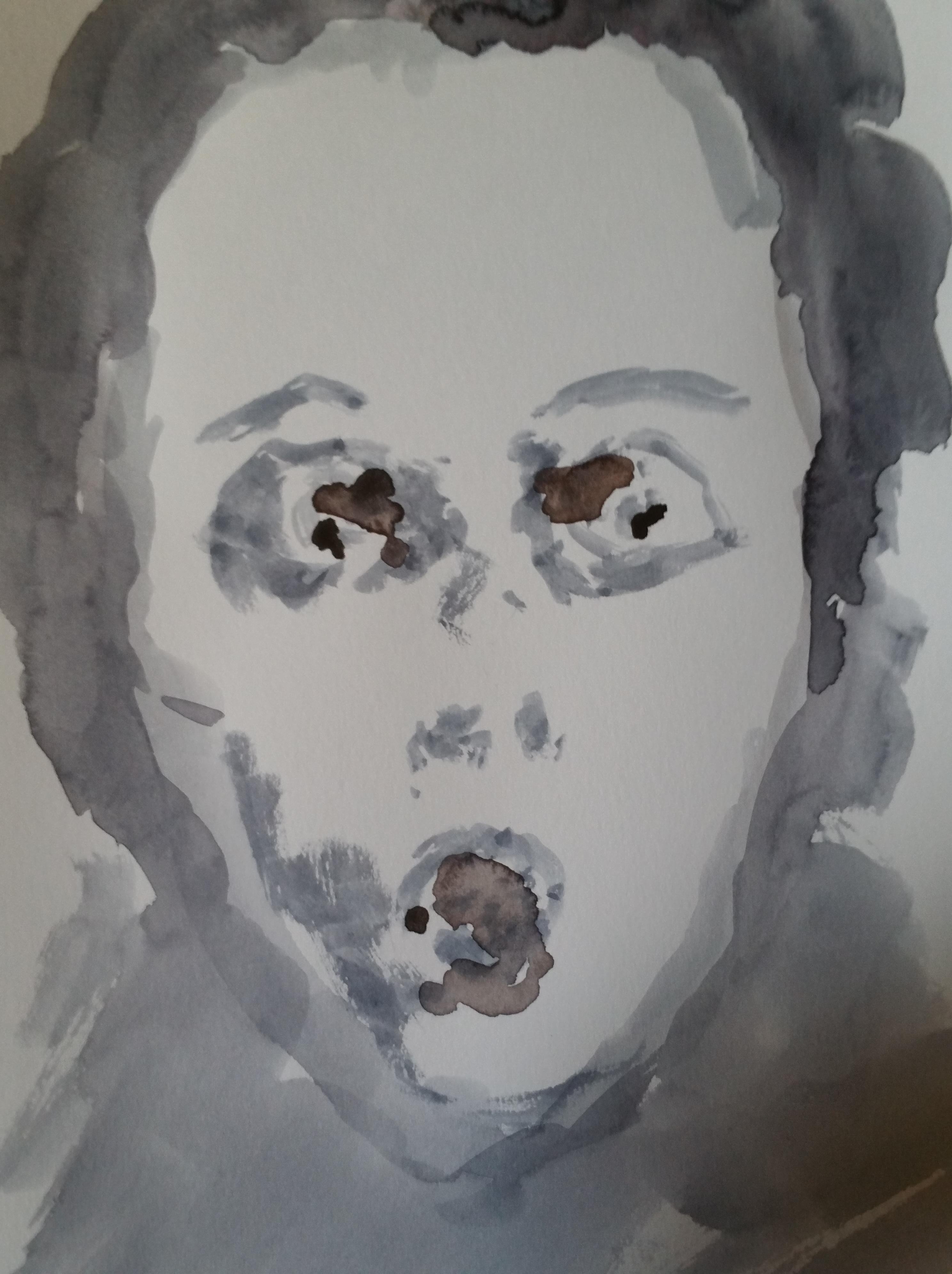 Portrait face aquarelle ton direct  cours de dessin