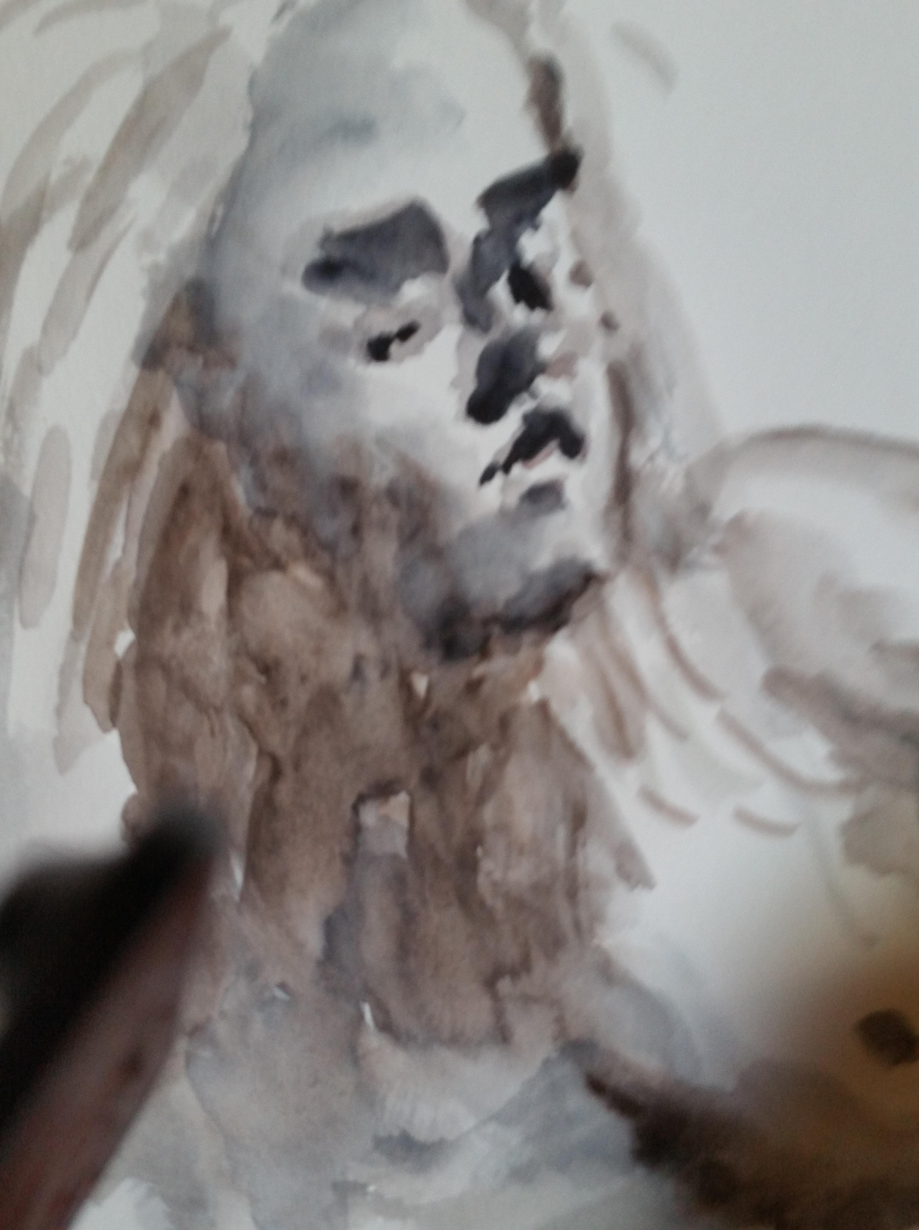 Portrait aquarelle camaïeu  cours de dessin
