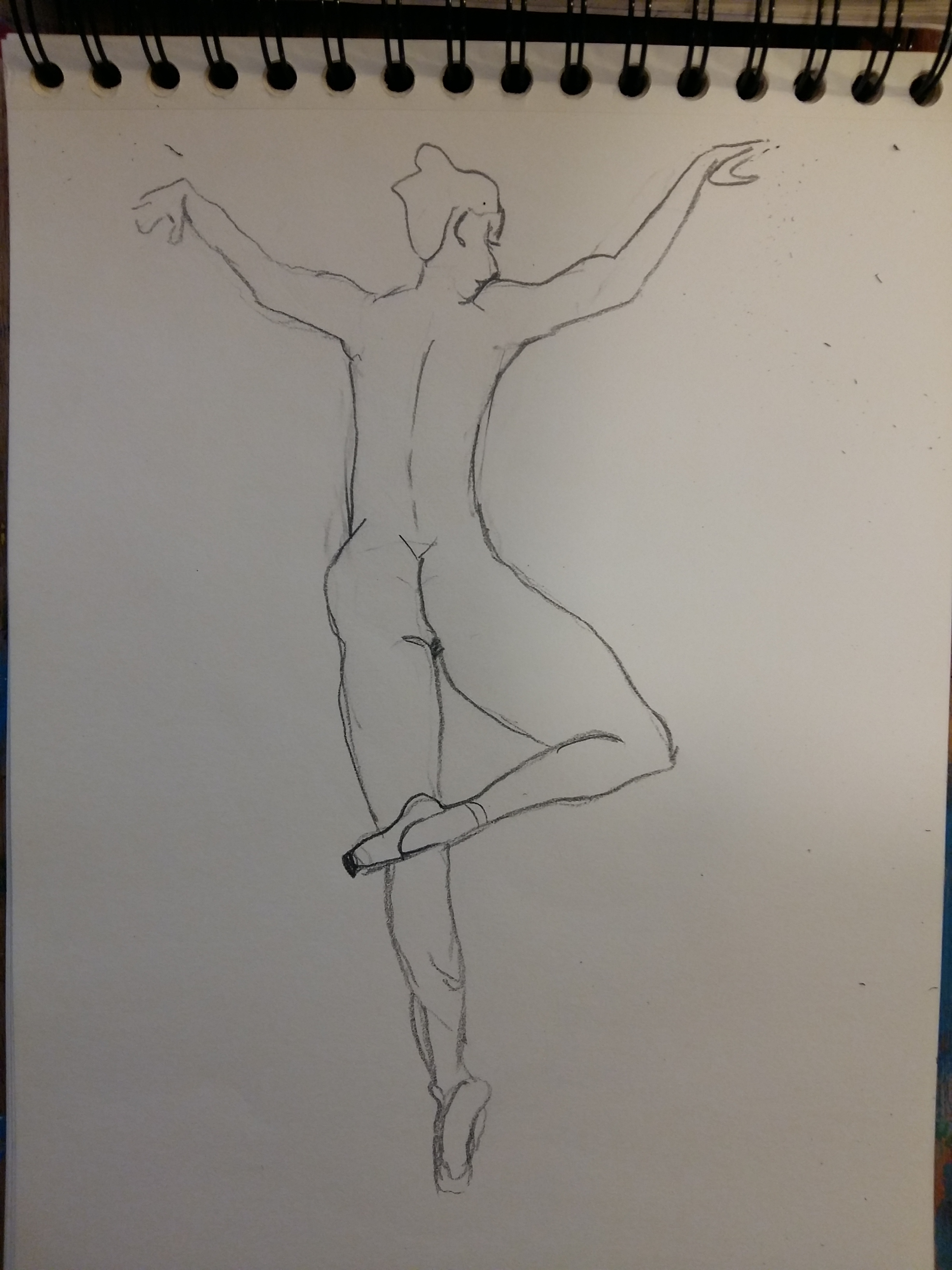 Dessin au trait danseuse dos format A4 carnet de croquis  cours de dessin