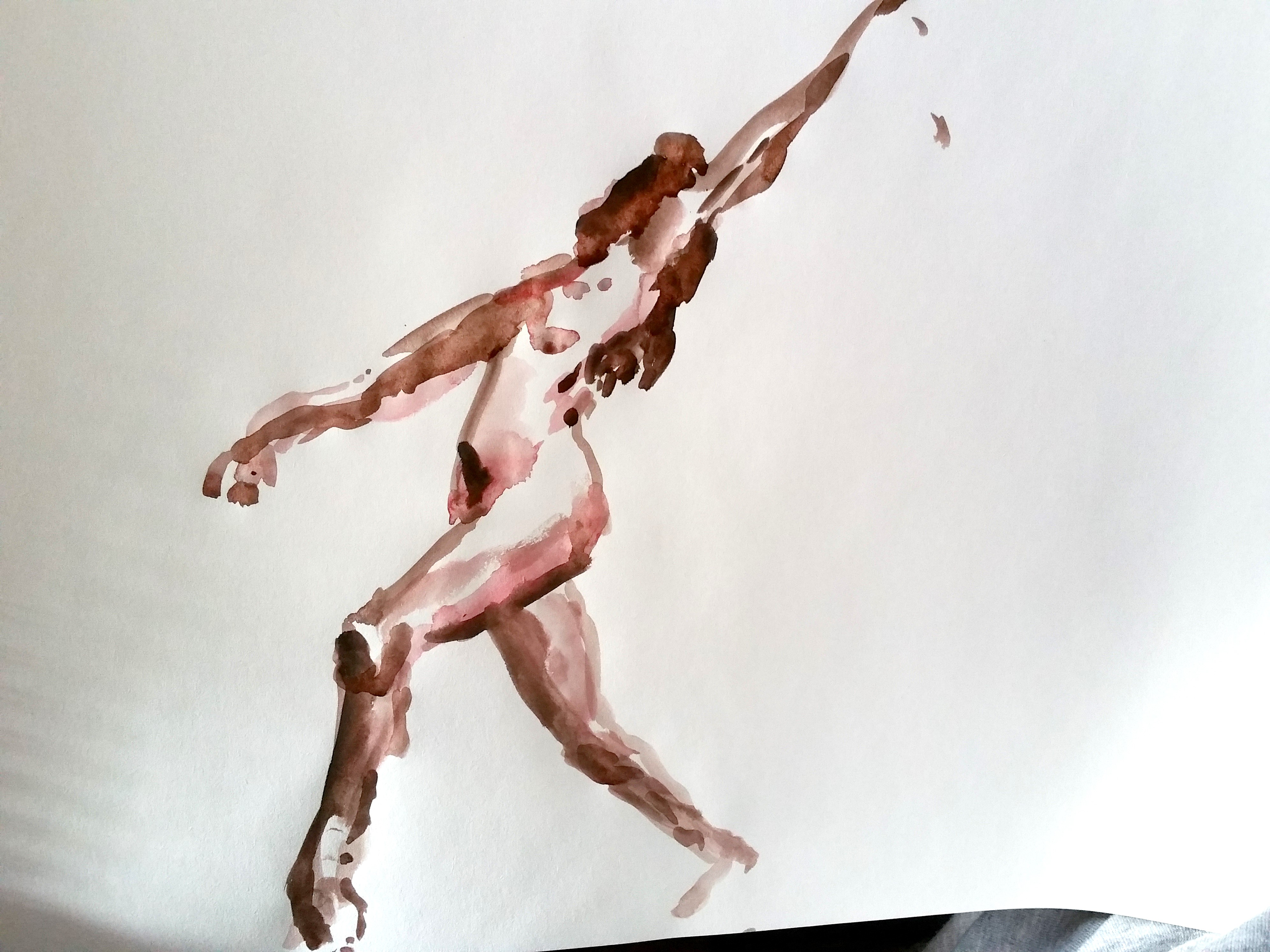 Composition aquarelle danseuse mouvements trois quarts face  cours de dessin