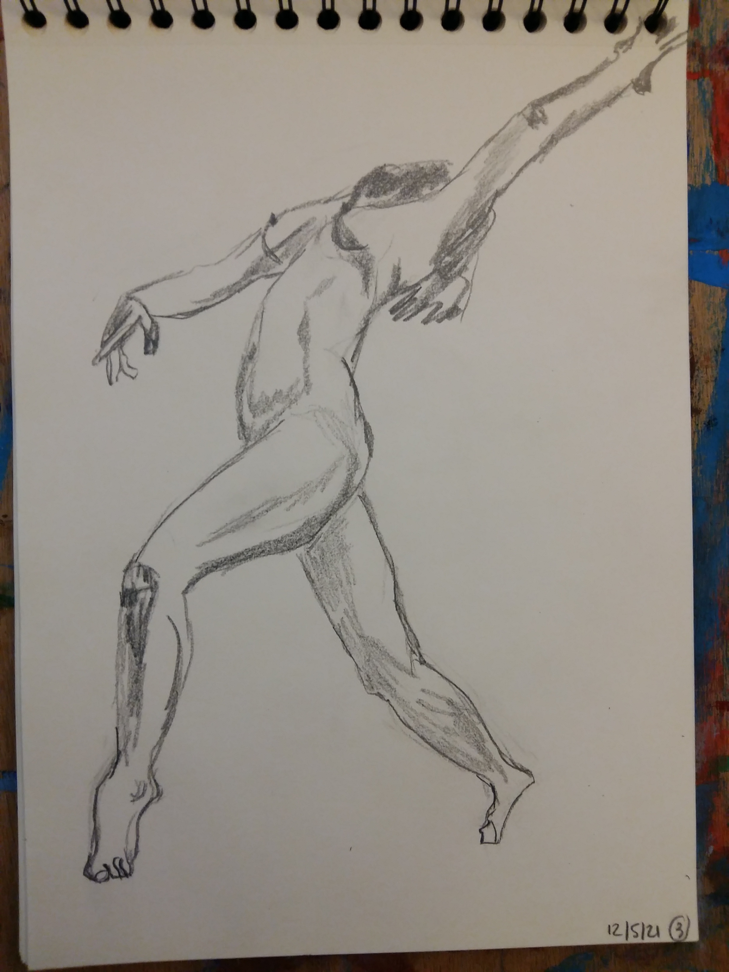 Esquisse rapide valeurs de gris corps trois quarts face  cours de dessin