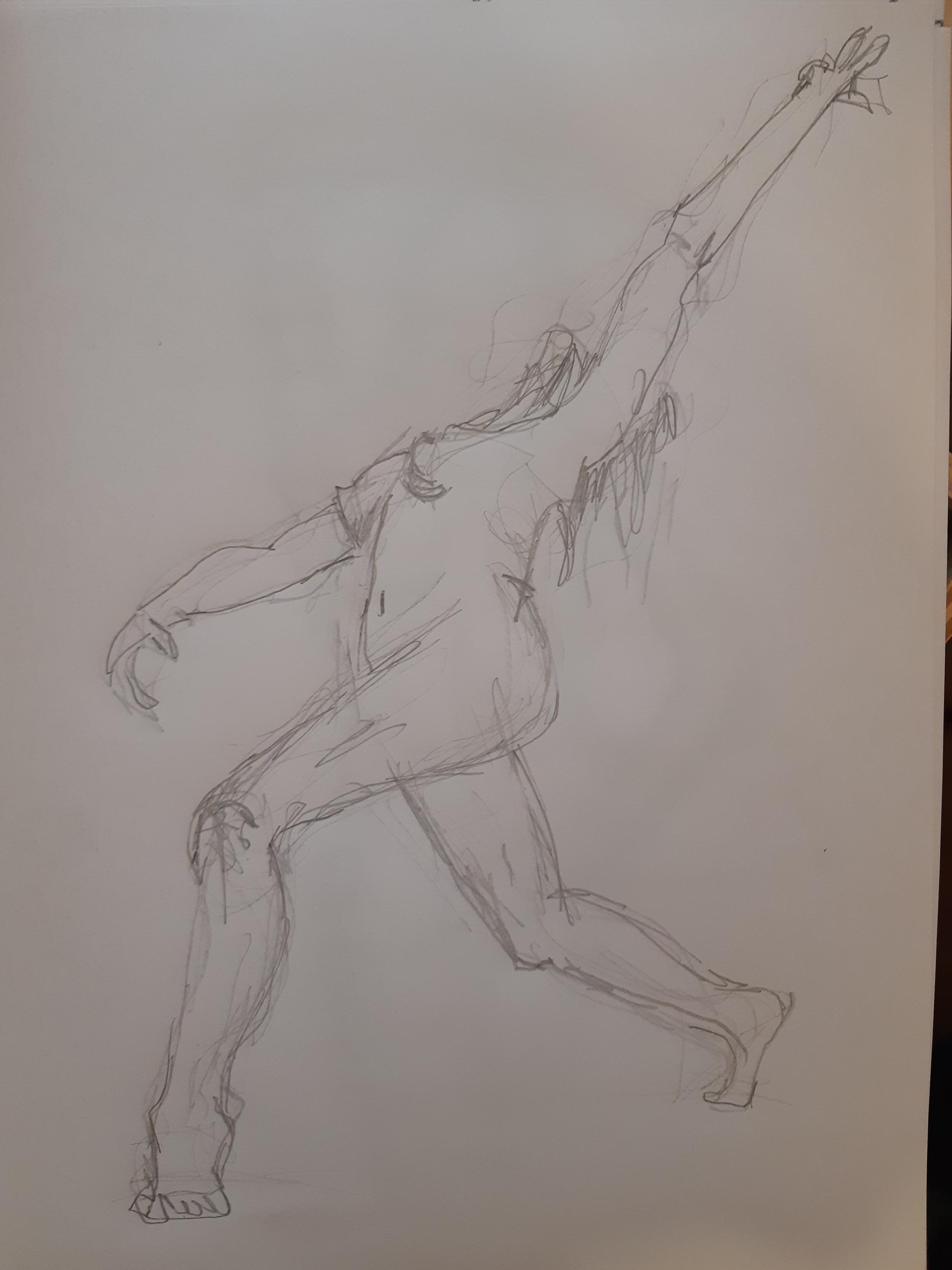 Esquisse rapide trois quarts face crayon graphite  cours de dessin
