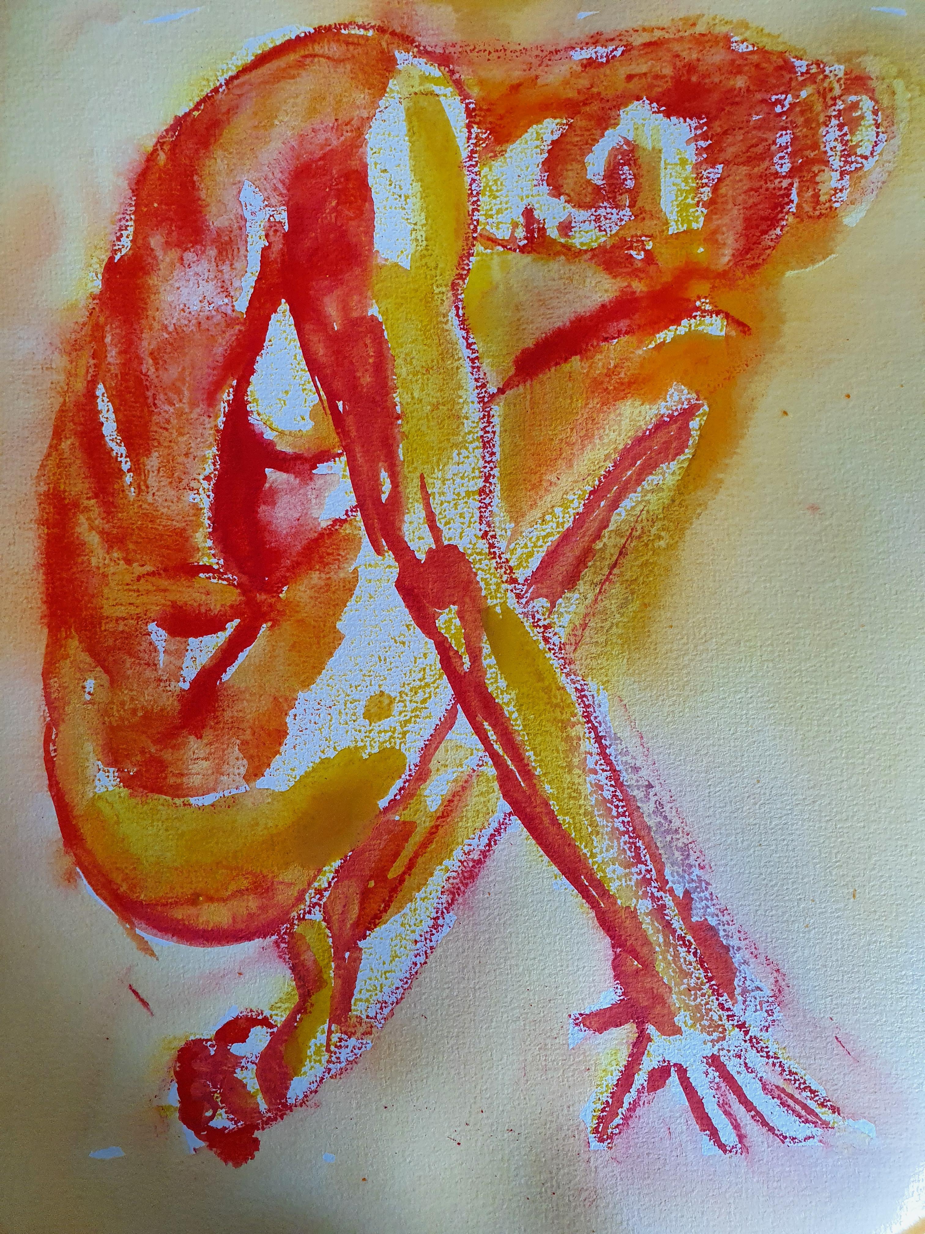 Dessin polychrome jaune rouge profil ainsi  cours de dessin