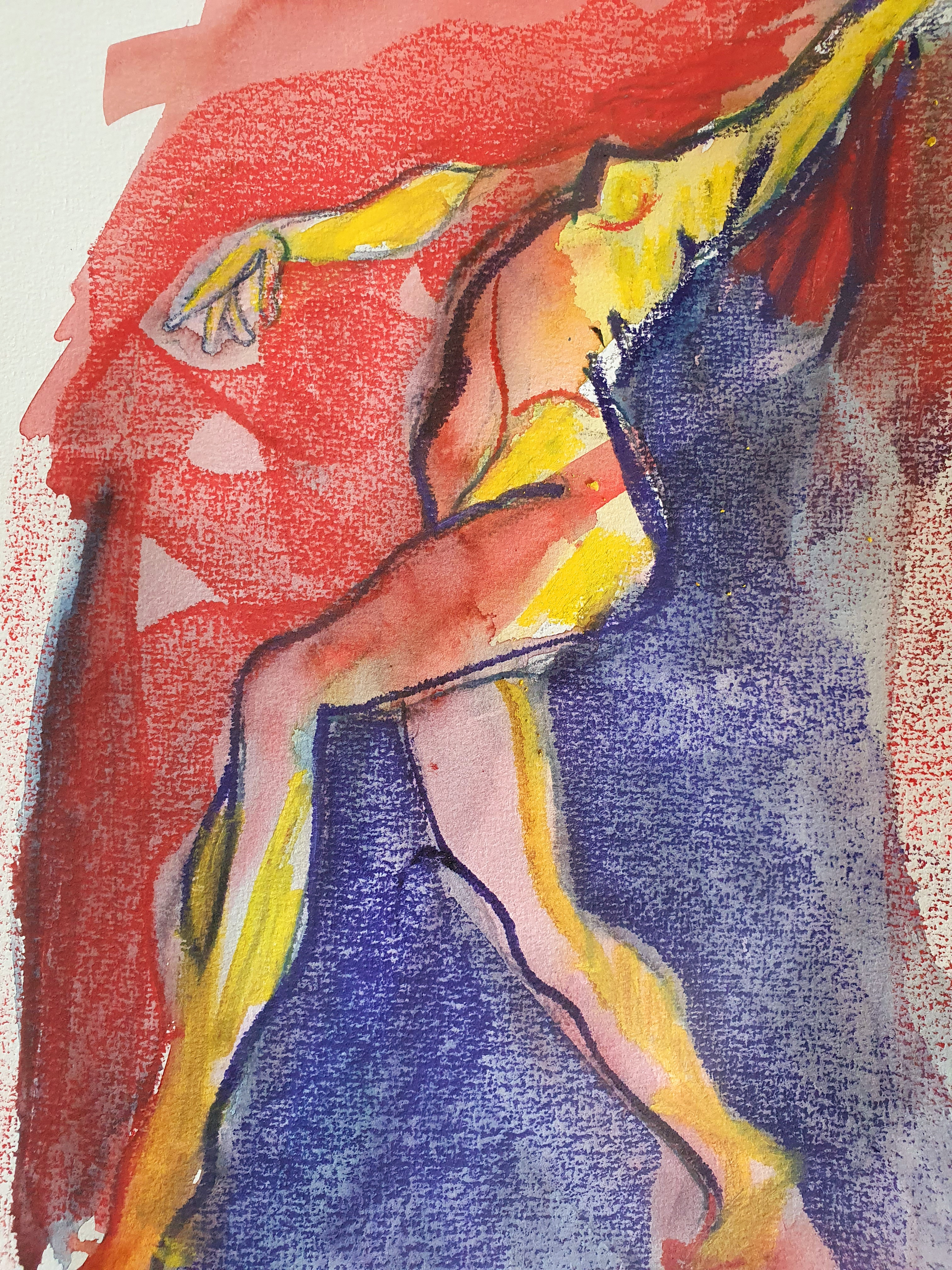 Dessin polychrome danseuse rouge jaune bleue  cours de dessin