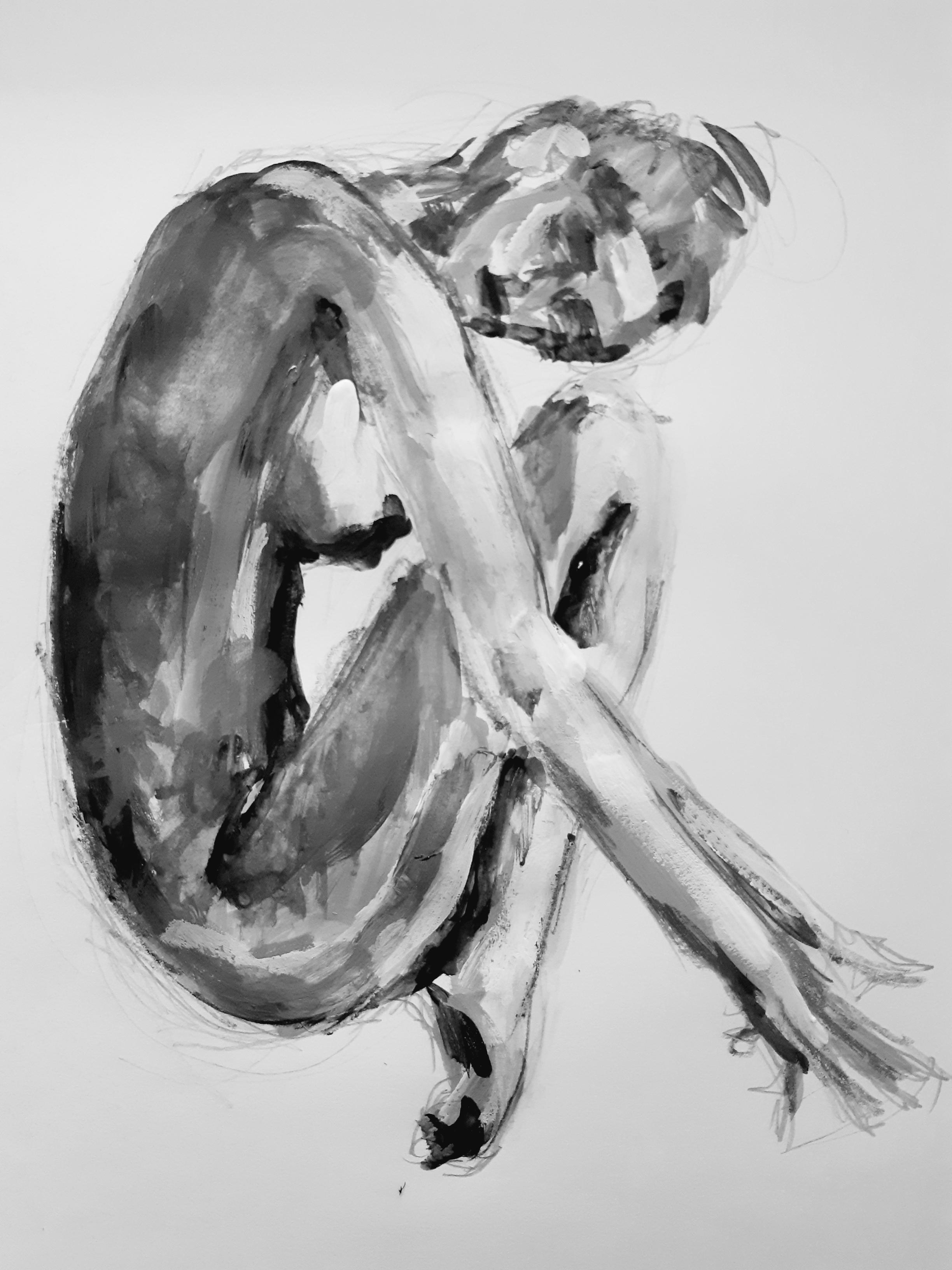Dessin profil camaïeu peinture  cours de dessin