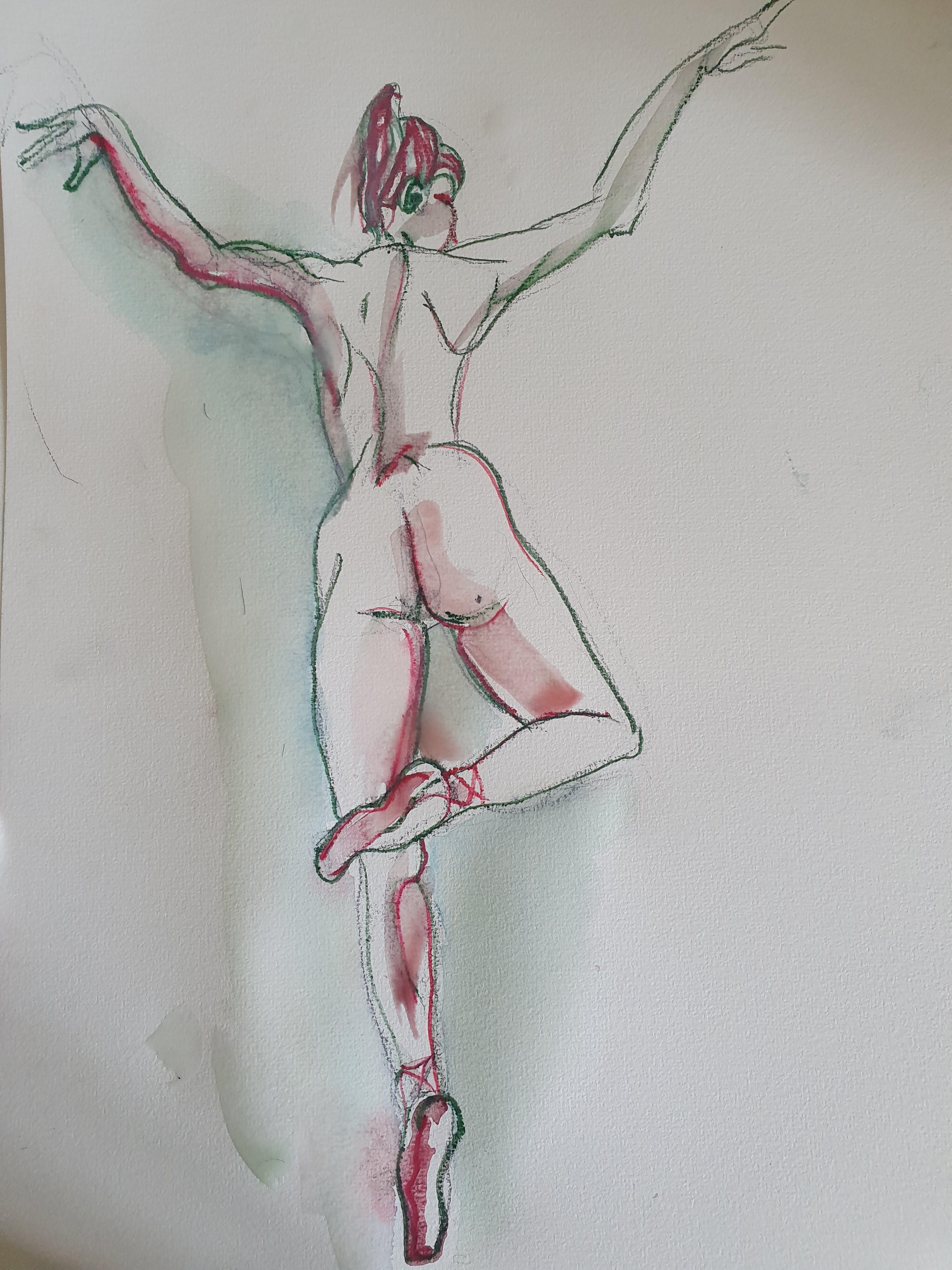 Dessin danseuse d'euros aquarelle crayon de couleur polychrome  cours de dessin