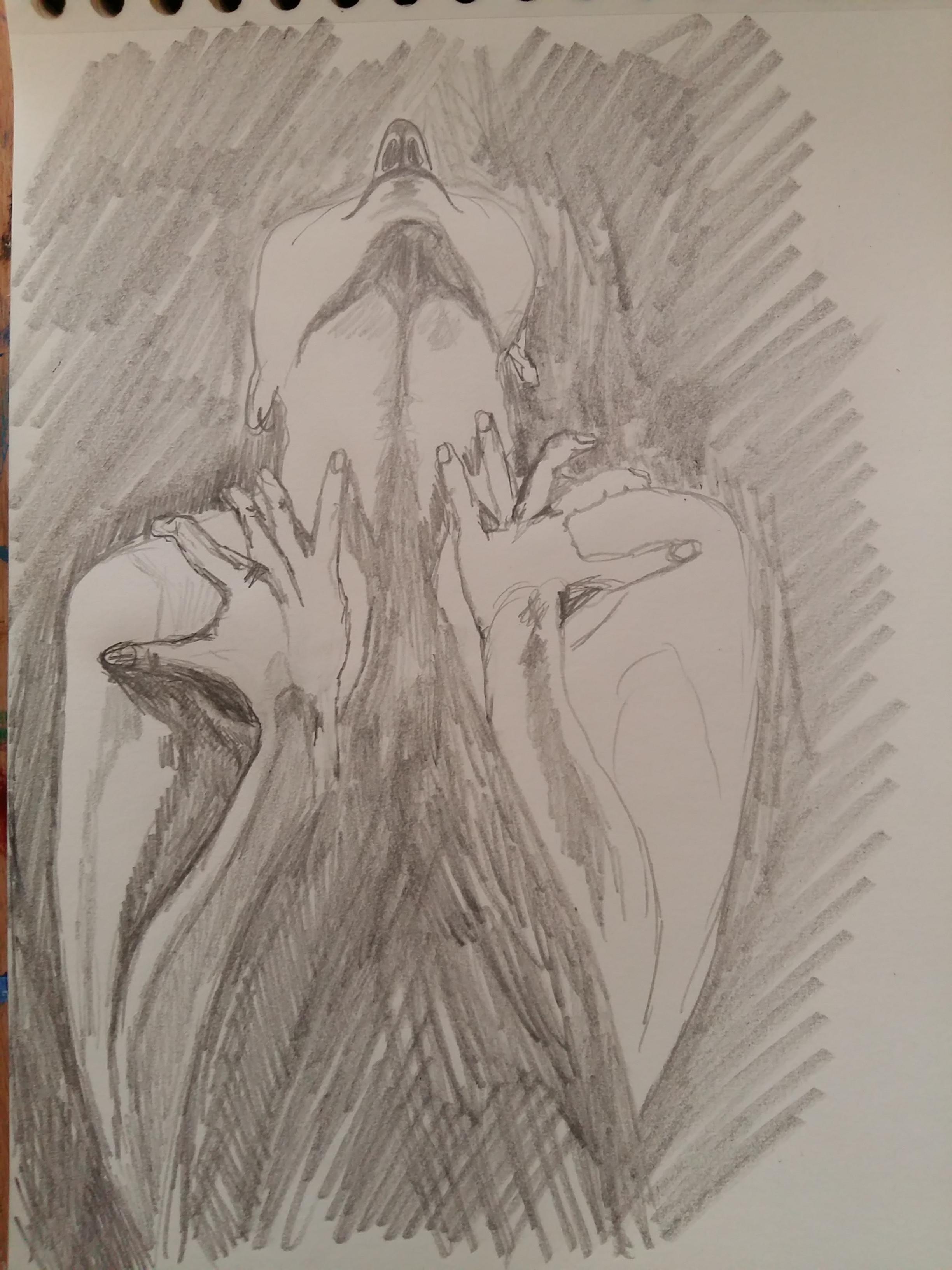 Dessin face contre-plongées graphite hachures  cours de dessin
