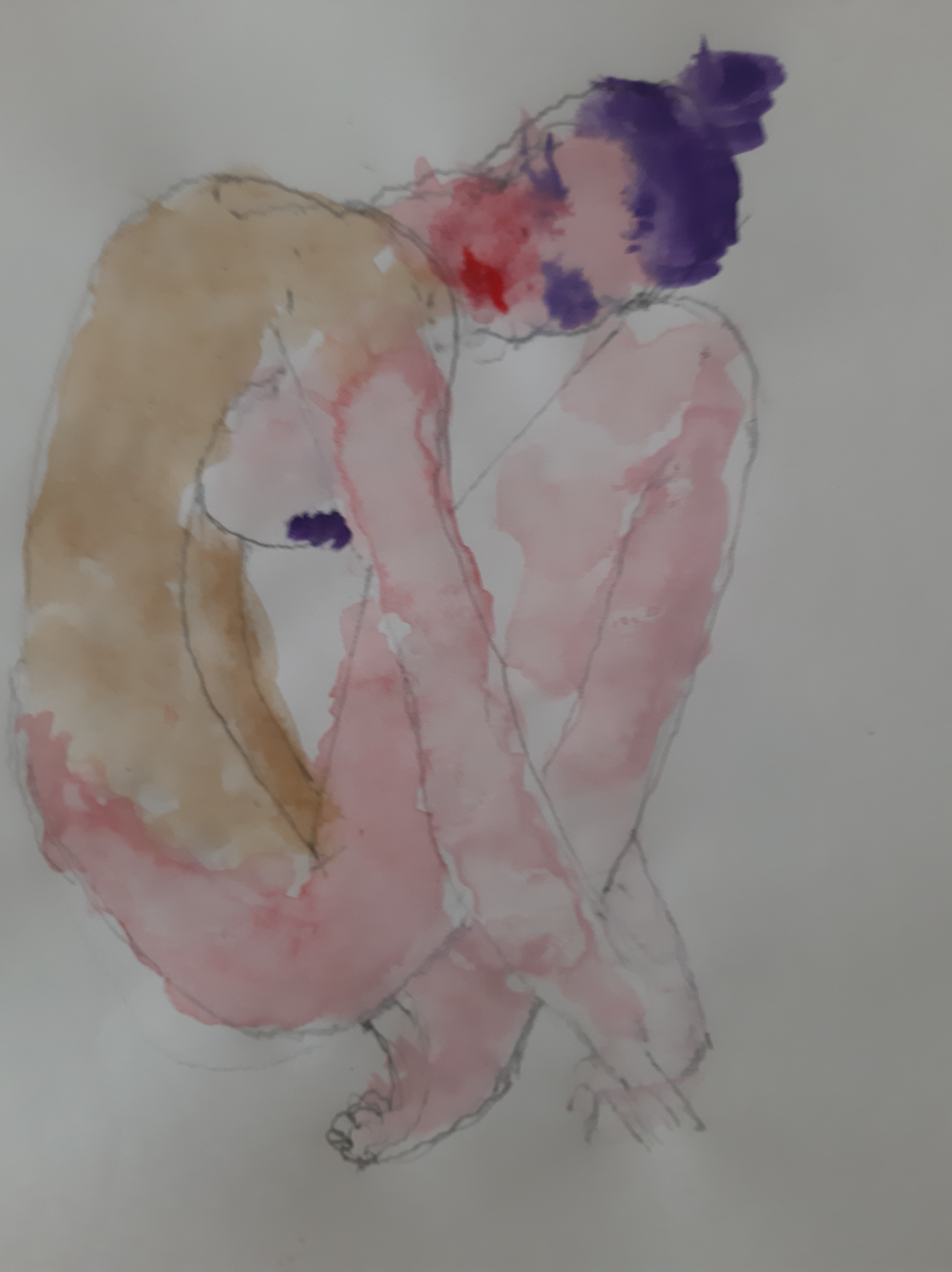 Peinture femme aquarelle vu de profil polychrome  cours de dessin