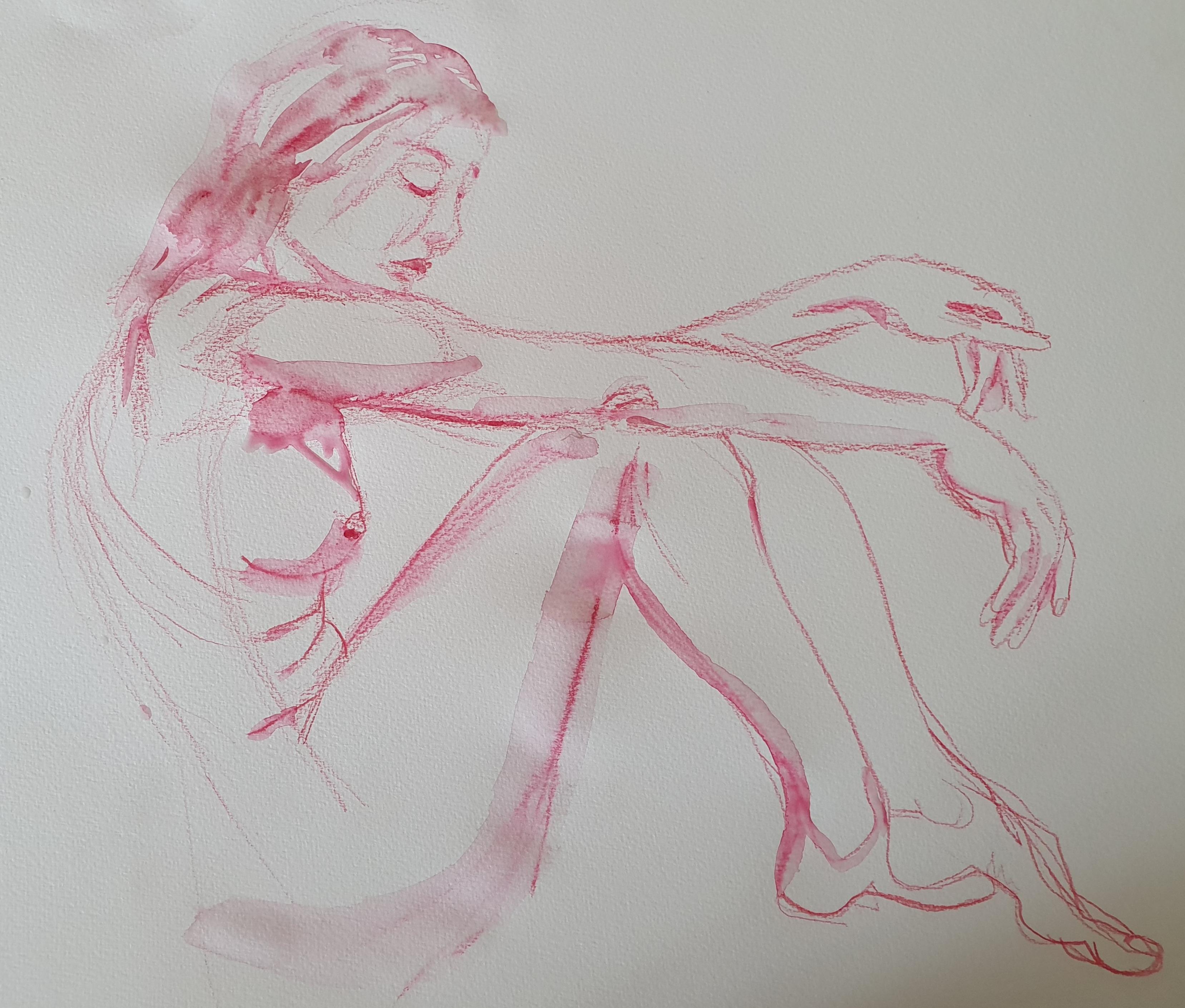Crayon de couleur rose femme assise format raisin  cours de dessin