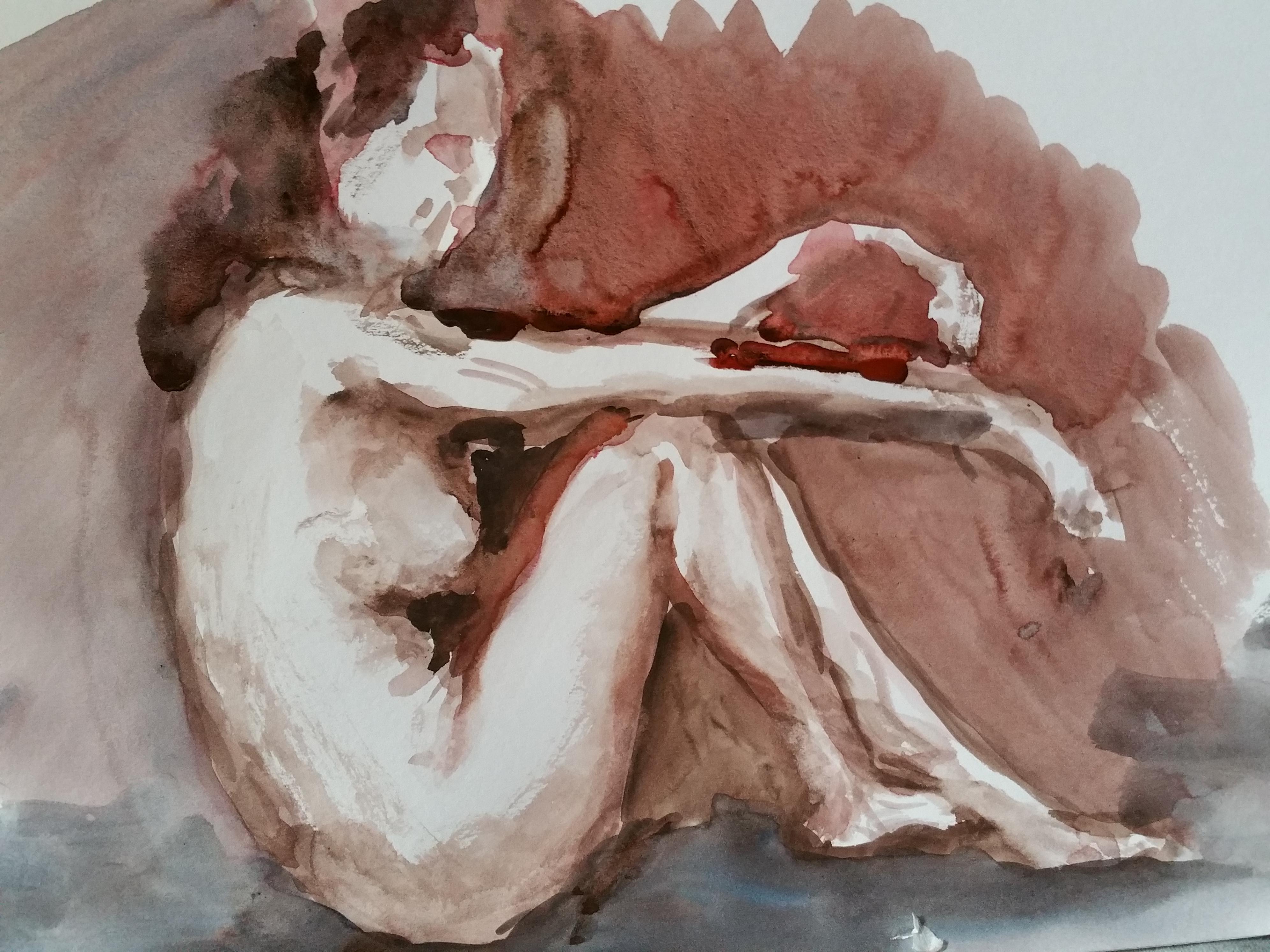 Aquarelle peinture femme vu de profil assise  cours de dessin