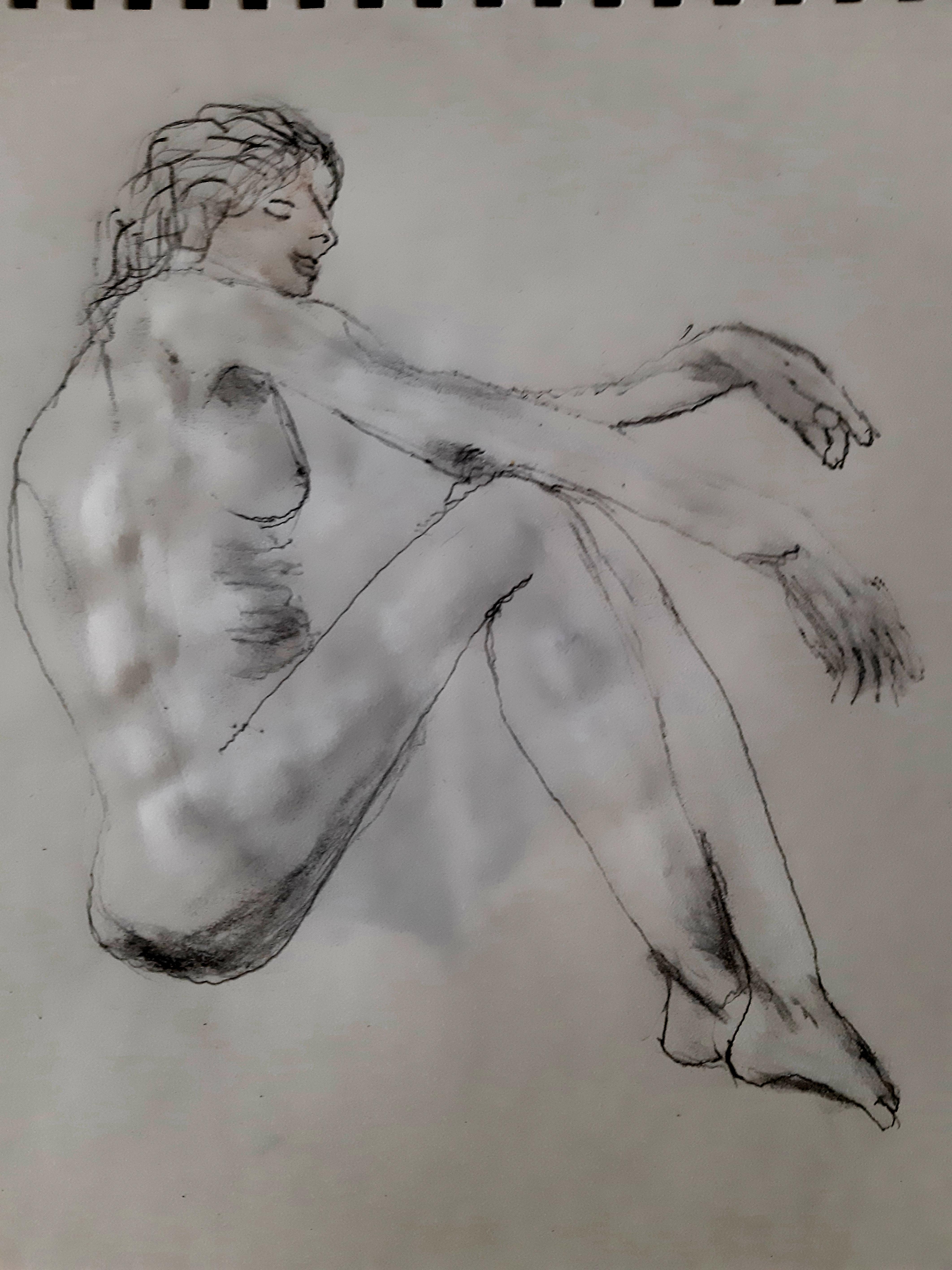 Dessin carbone aquarelle vu de profil  cours de dessin
