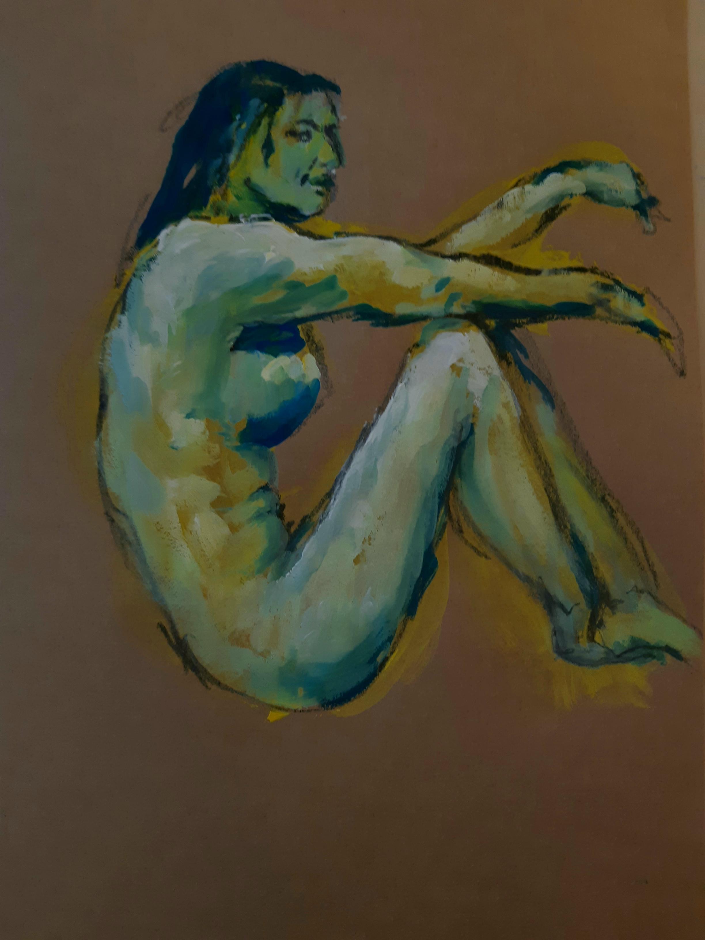 Peinture profil femme polychrome gouache  cours de dessin