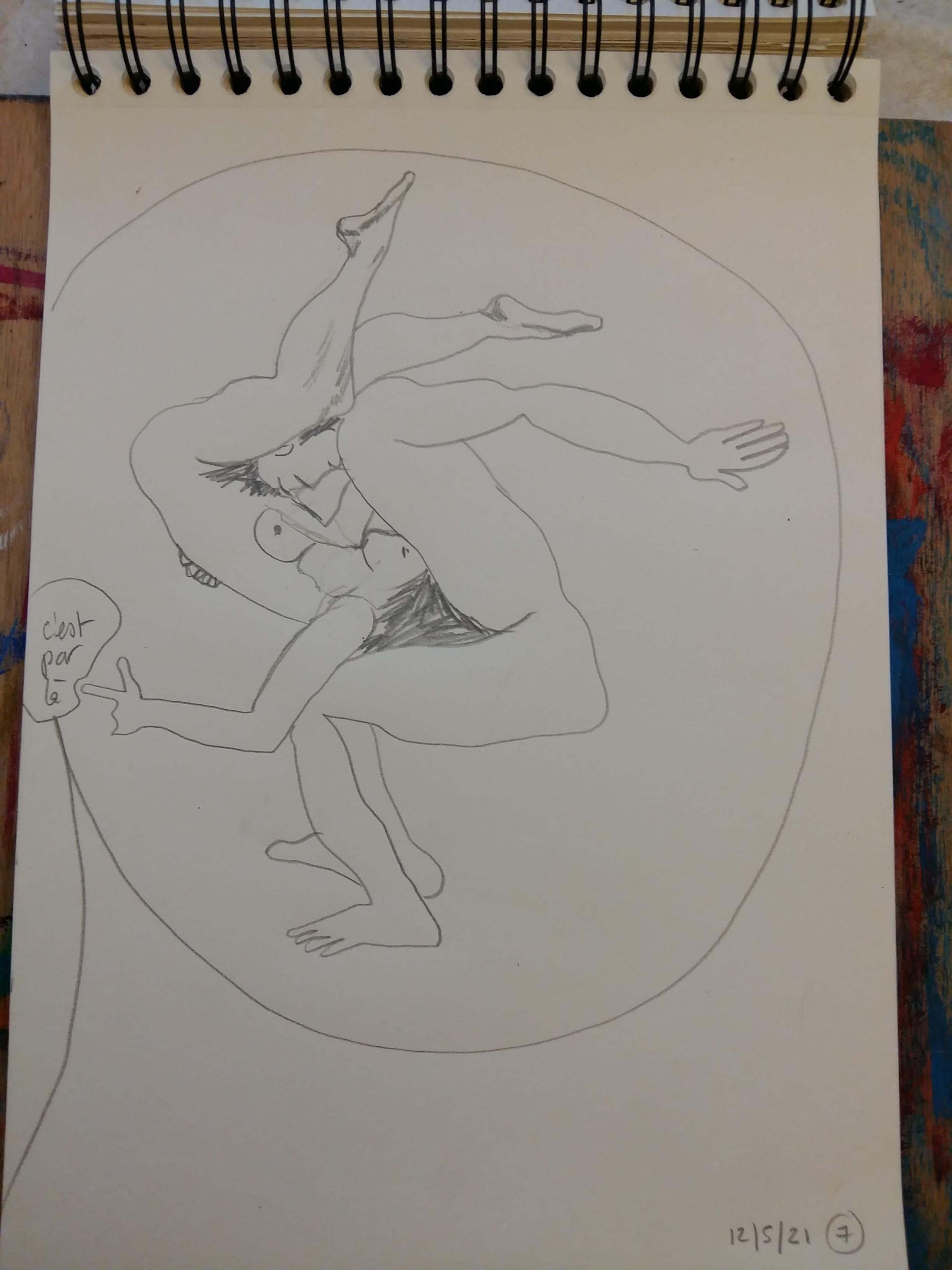 Croquis limite de l'androgyne crayon de papier  cours de dessin
