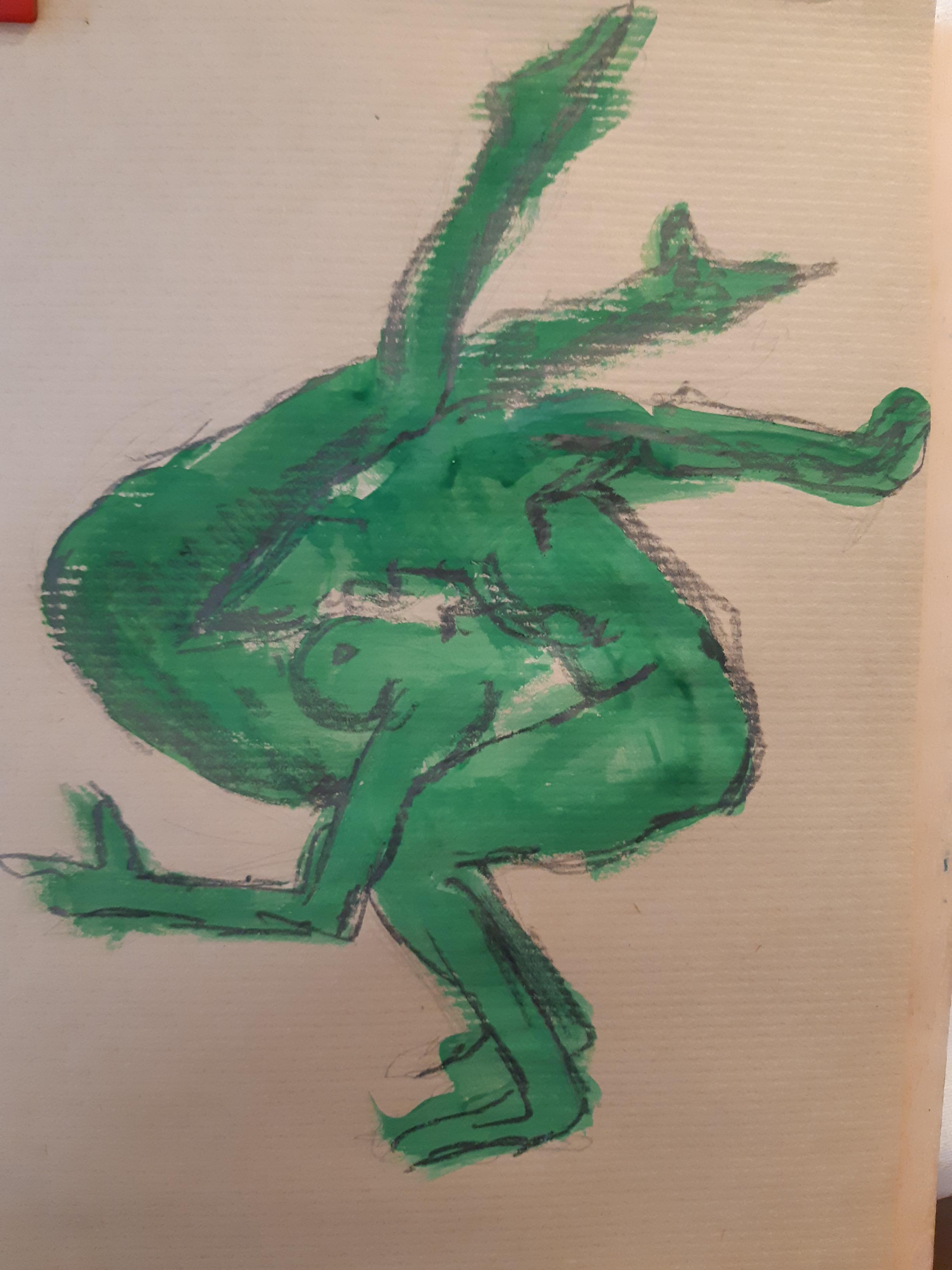 Mie de l'androgyne peinture verte sur papier Kraft  cours de dessin