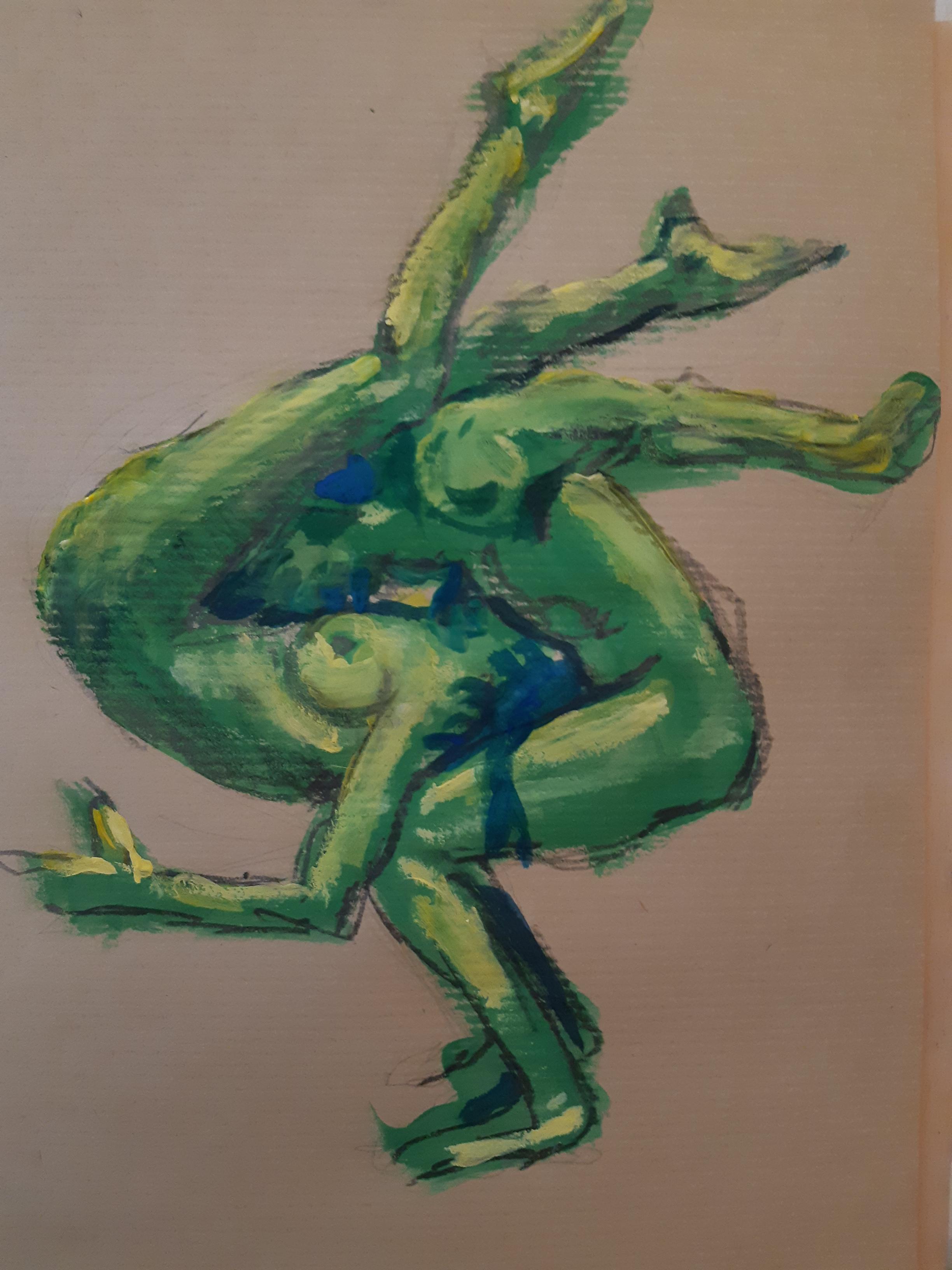 Acrobate vert sur Kraft peinture  cours de dessin