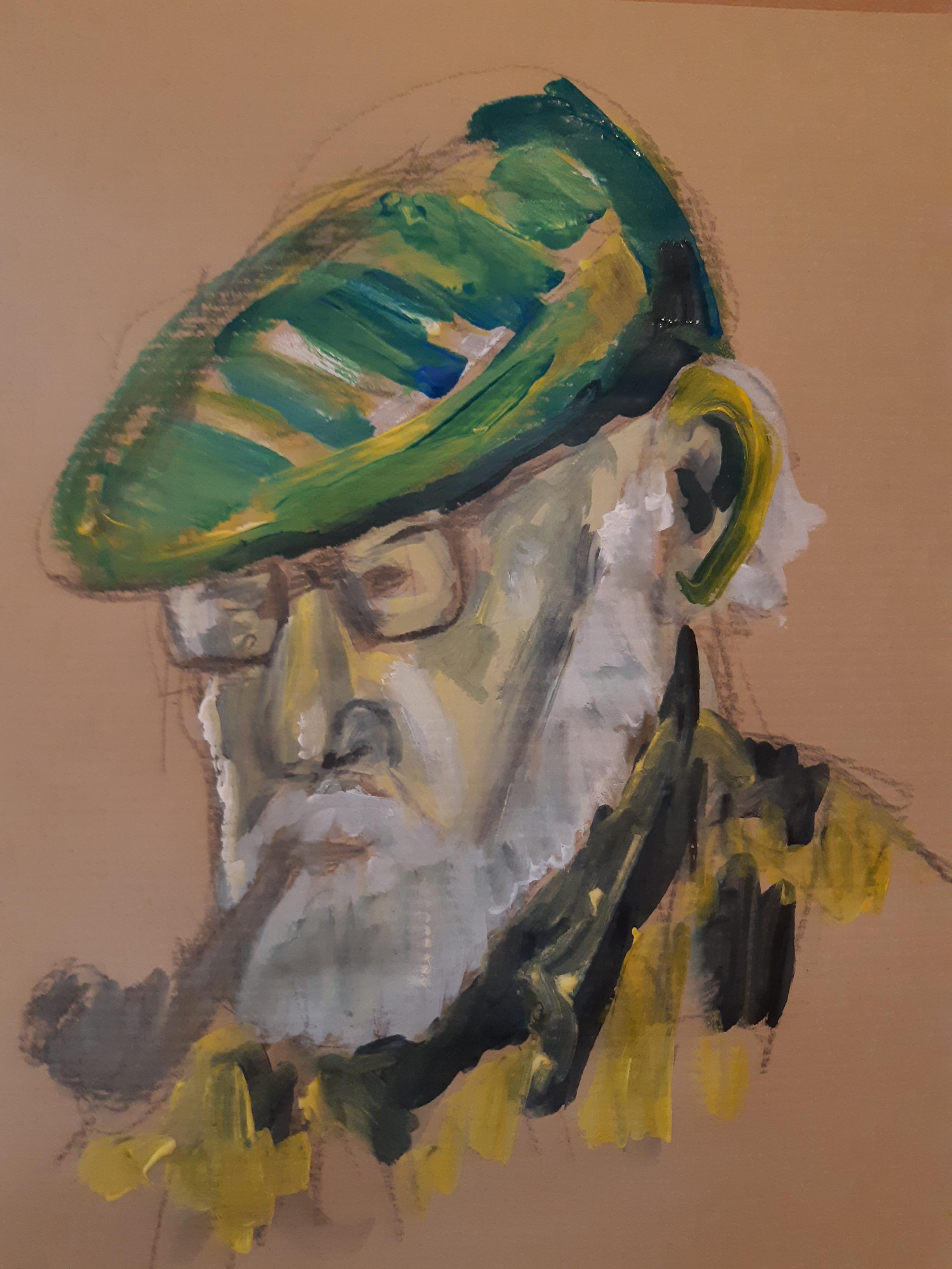 Portrait peinture sur Kraft trois quarts face  cours de dessin
