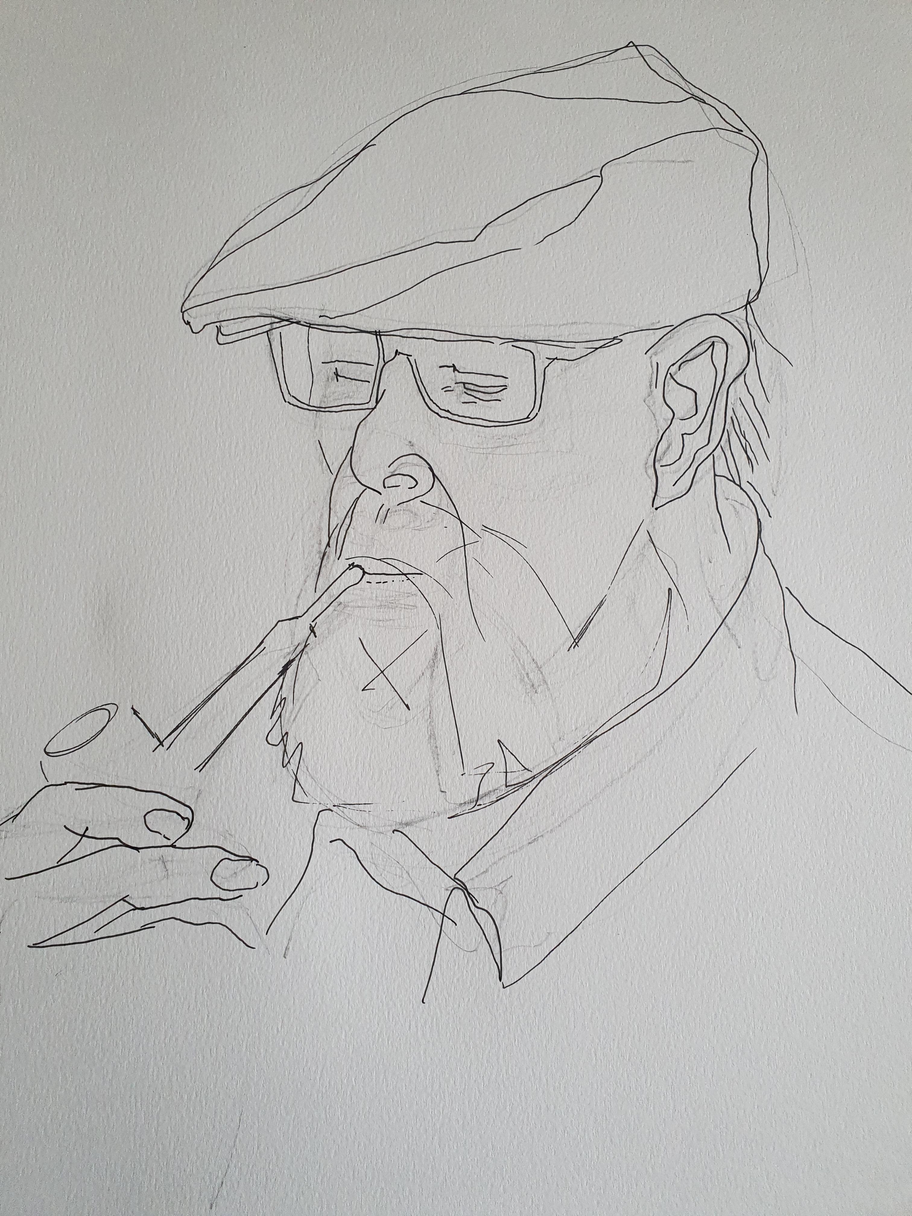 Portrait dessin homme avec casquette lunette et pipe  cours de dessin