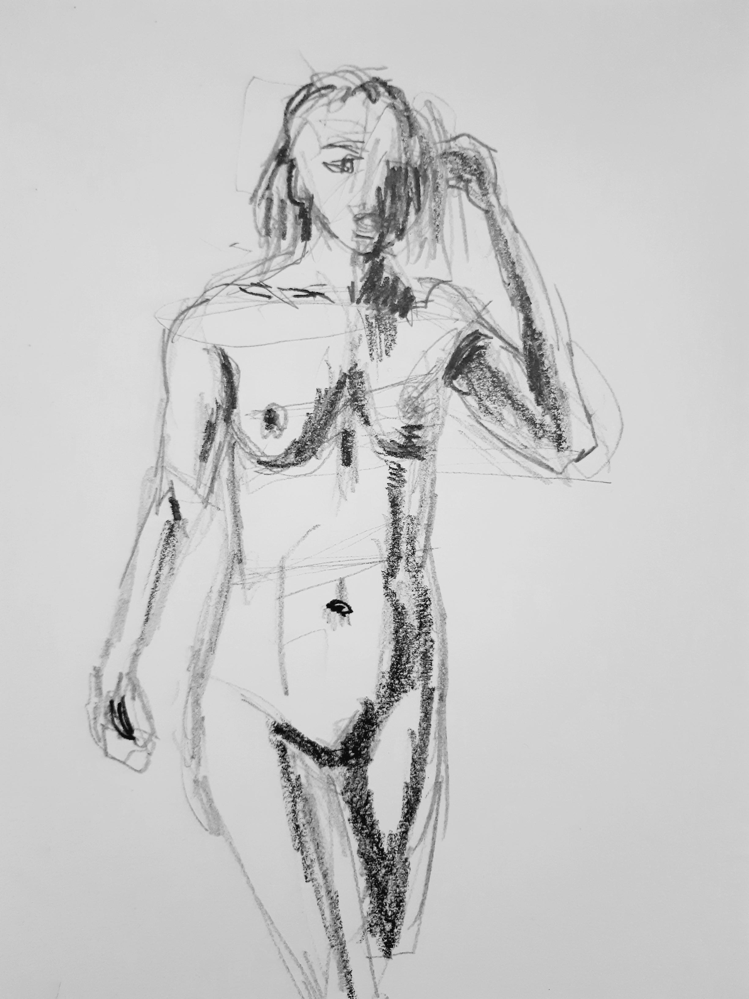 Esquisse rapide carbone crayon sur papier buste femme trois quarts face  cours de dessin
