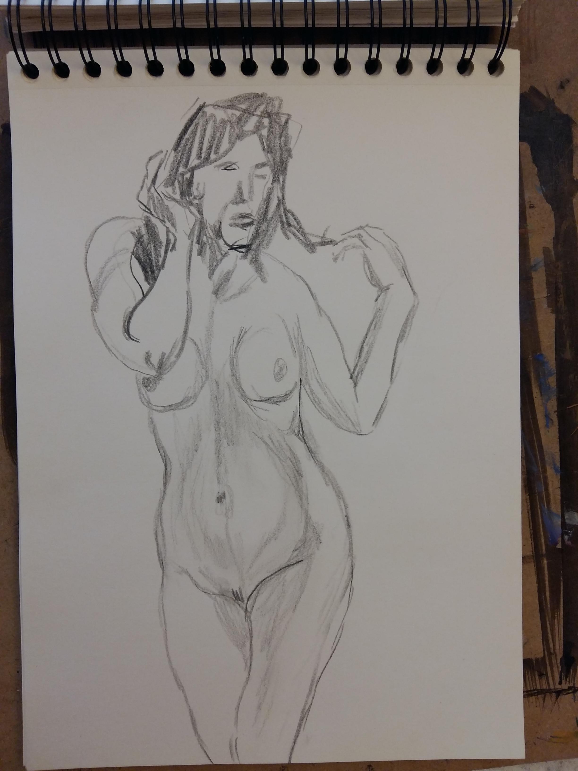Esquisse rapide graphite crayonné carnet de croquis buste femme  cours de dessin