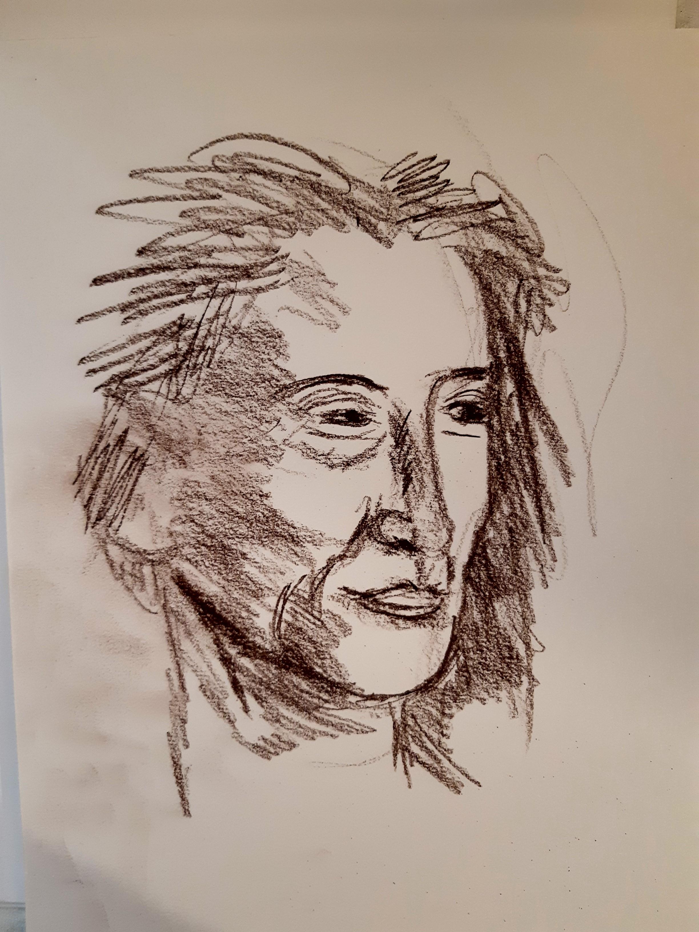 Portrait trois quarts face hachures crayonnés fusain  cours de dessin