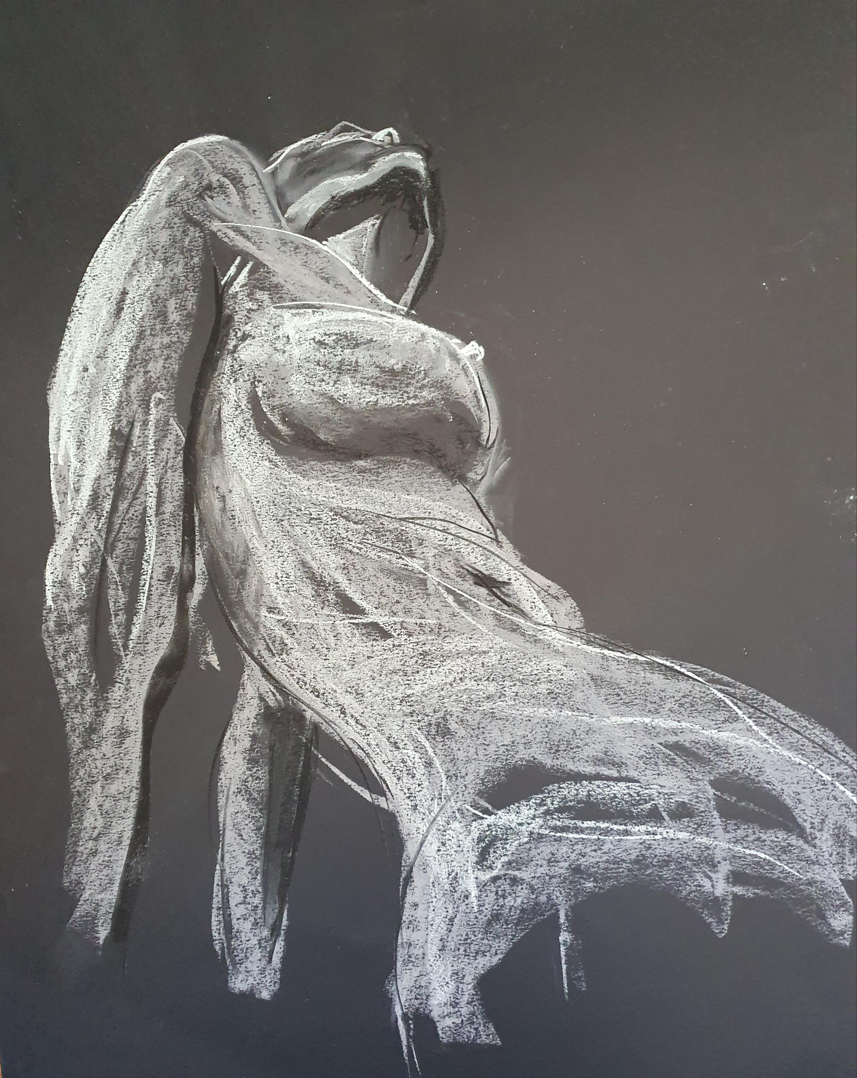 Pastel blanc et noir sur papier gris corps en  contre-plongées  cours de dessin