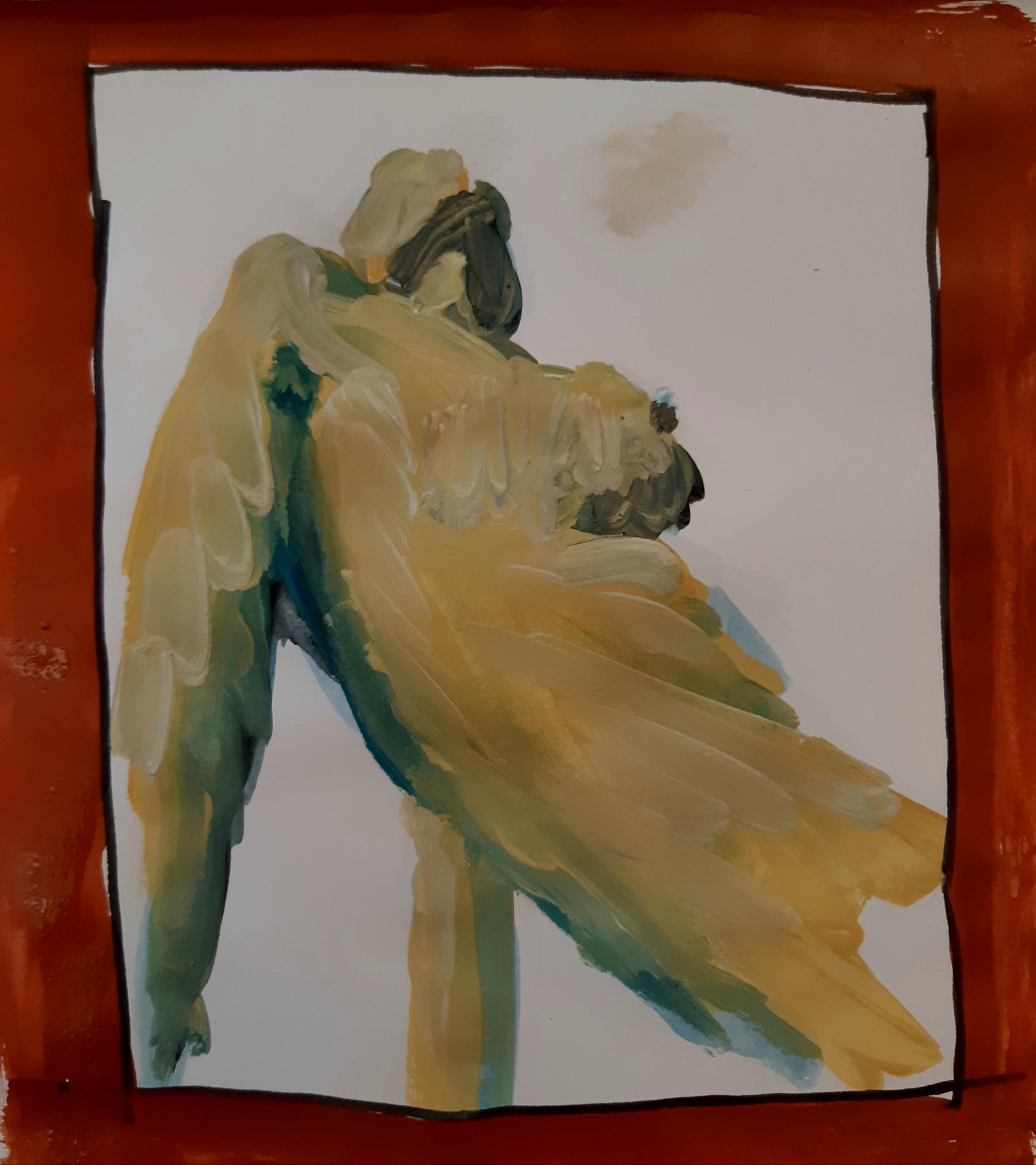 Peinture gouache jaune corps contre-plongées  cours de dessin