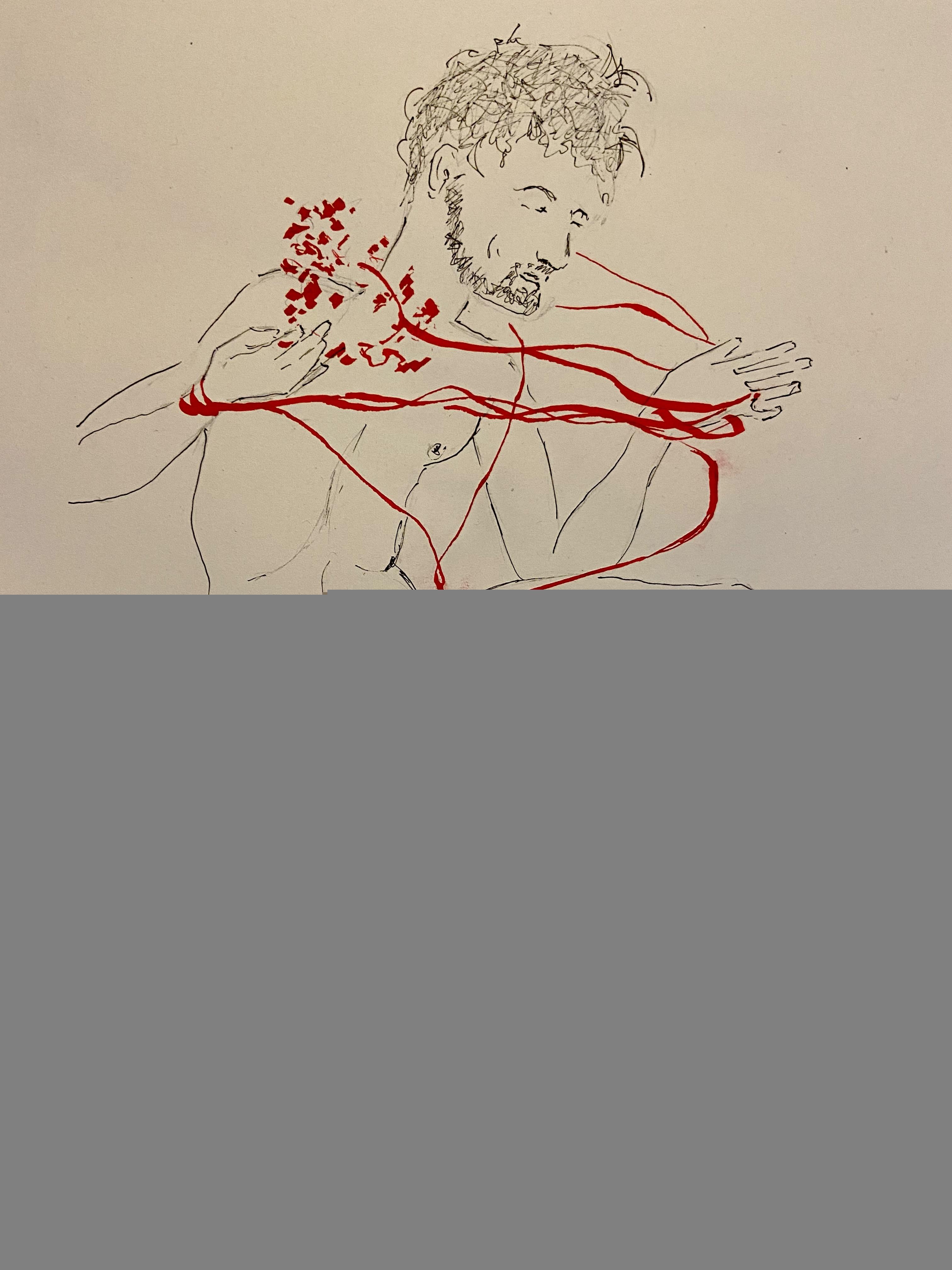 Esquisse rapide plume encre de Chine encre rouge sur papier réalisé lors de nos cours de dessin  cours de dessin