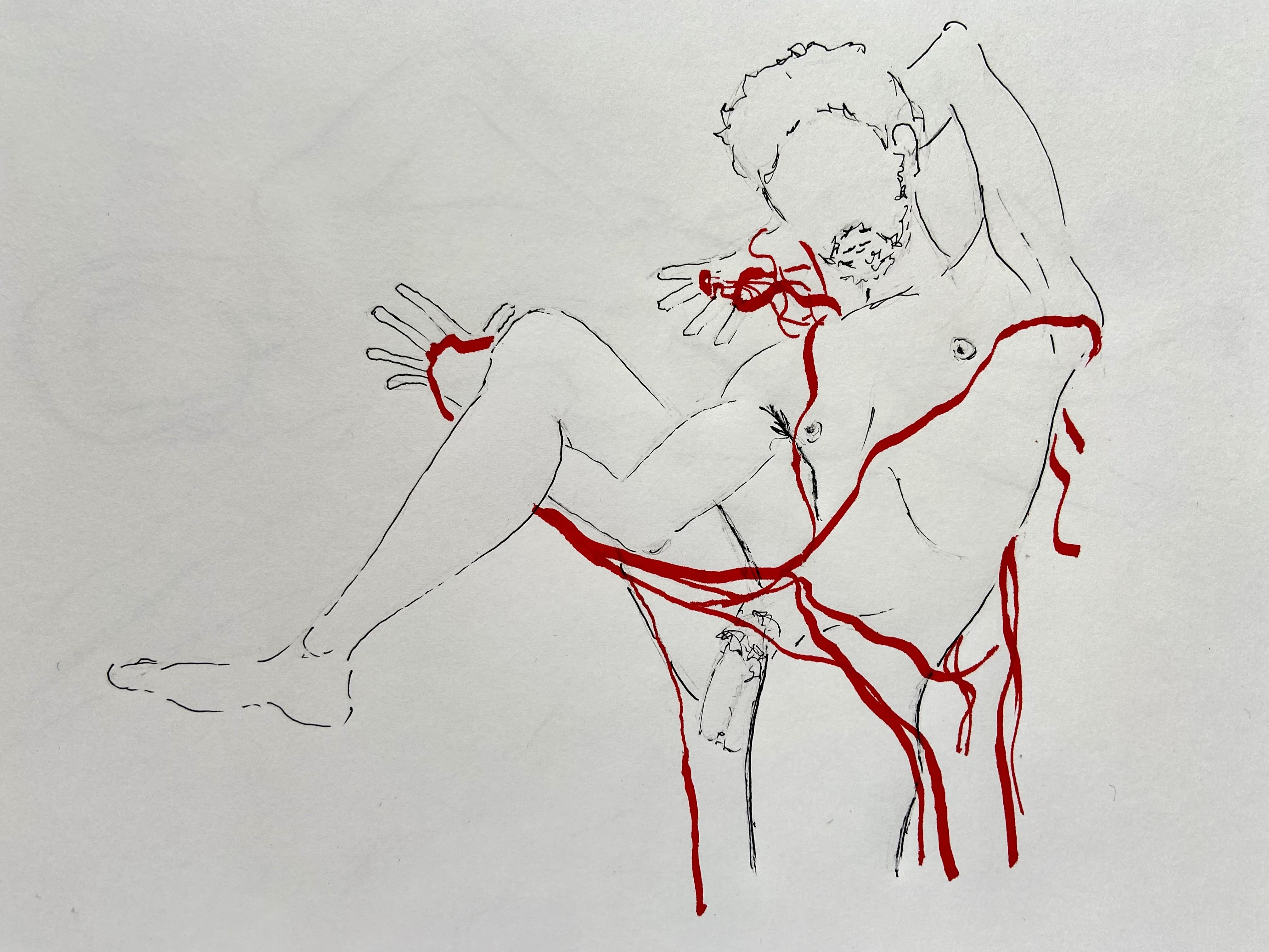 Dessin au trait technique mixte crayon papier plume et encre rouge  cours de dessin
