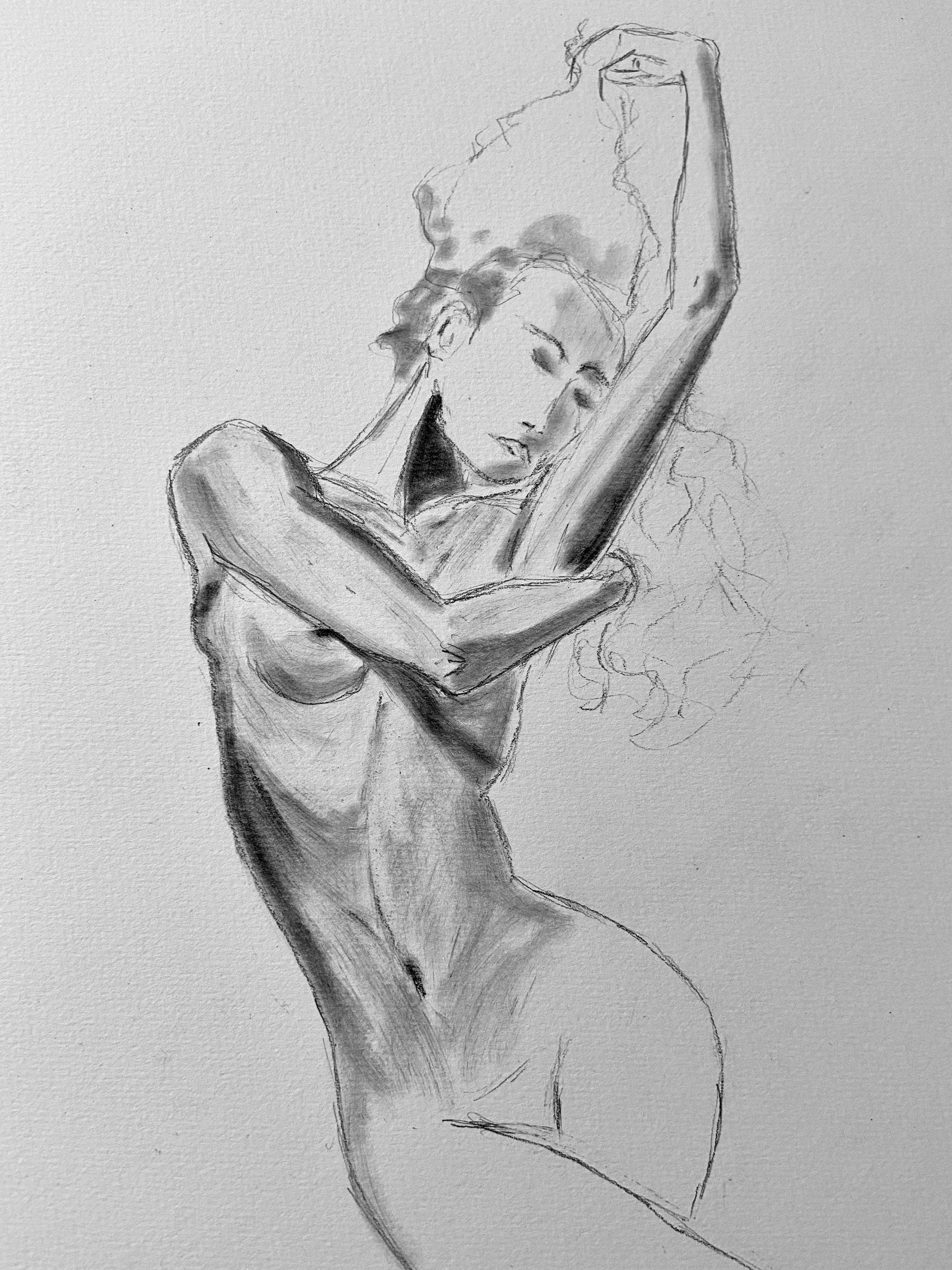 Esquisse à l'estompe buste de femme avec déhanché réalisé dans nos cours de dessin à Paris  cours de dessin