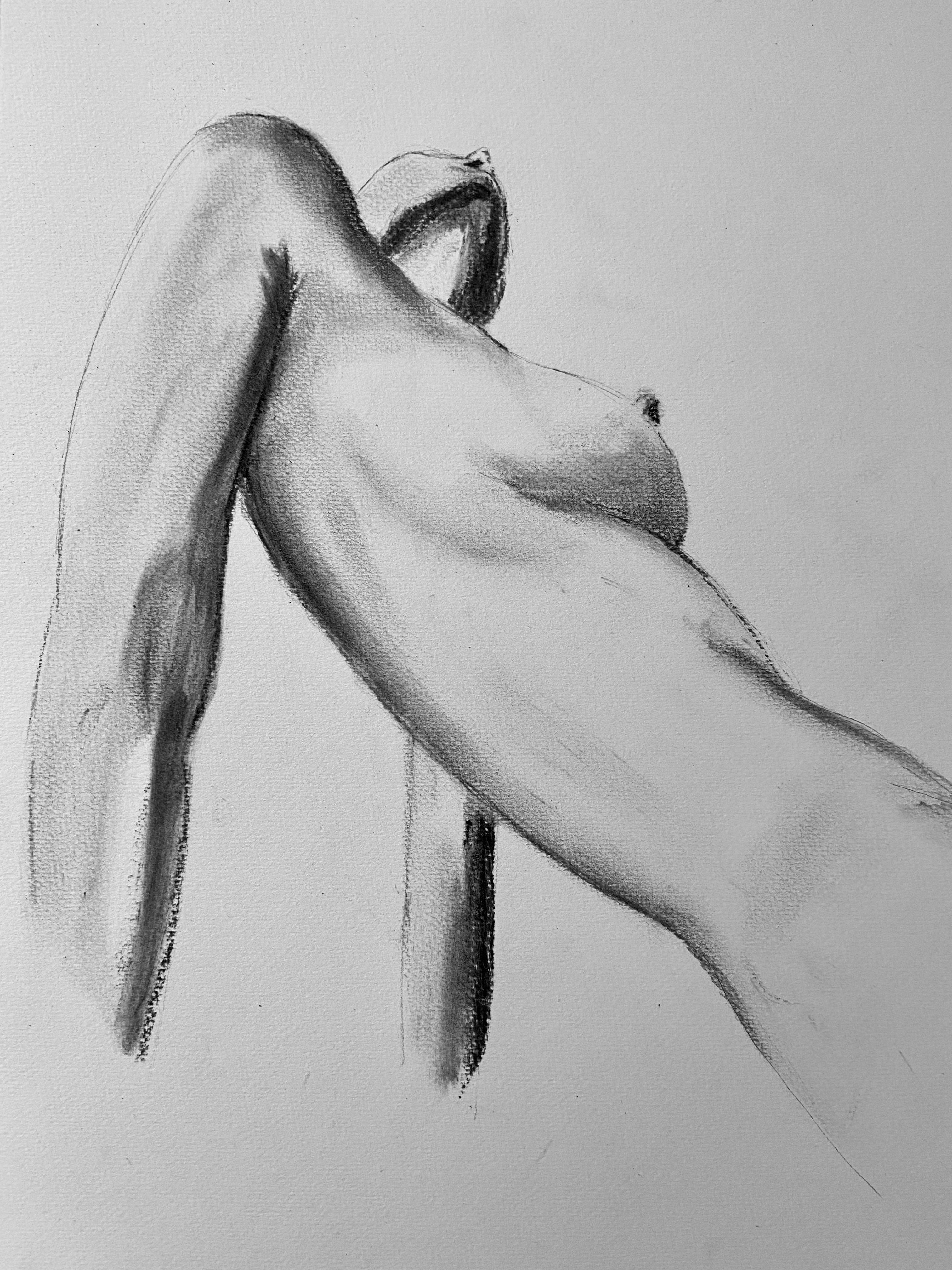 Contre-plongées buste femme esquisse réaliser à l'estomper au fusain  cours de dessin
