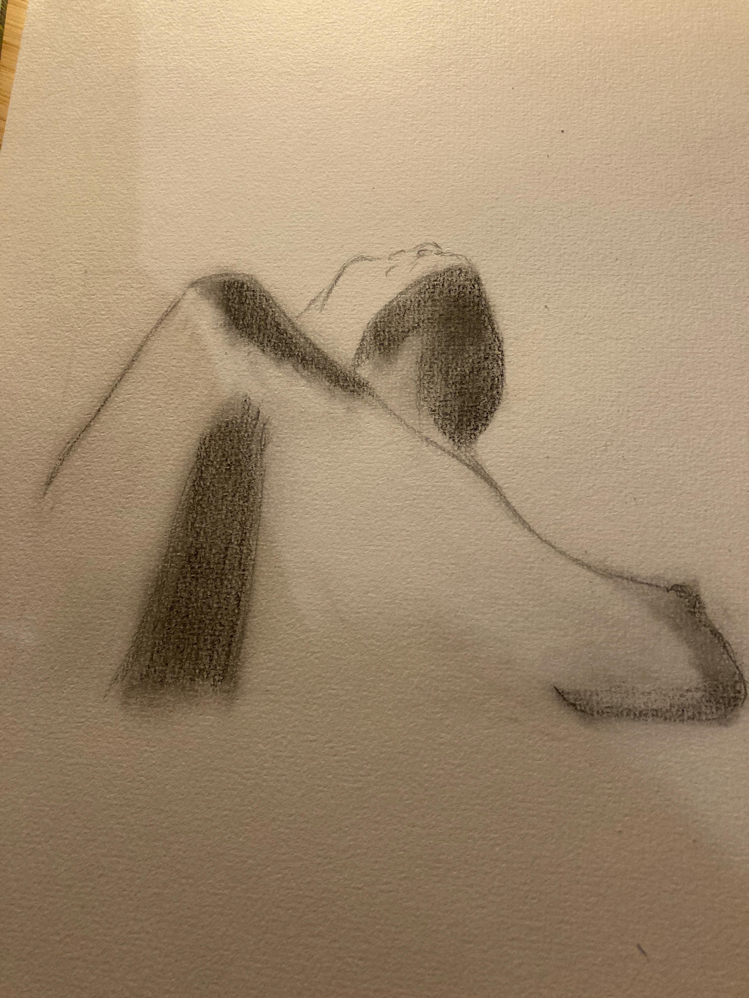 Dessin estompe contre-plongées buste  cours de dessin