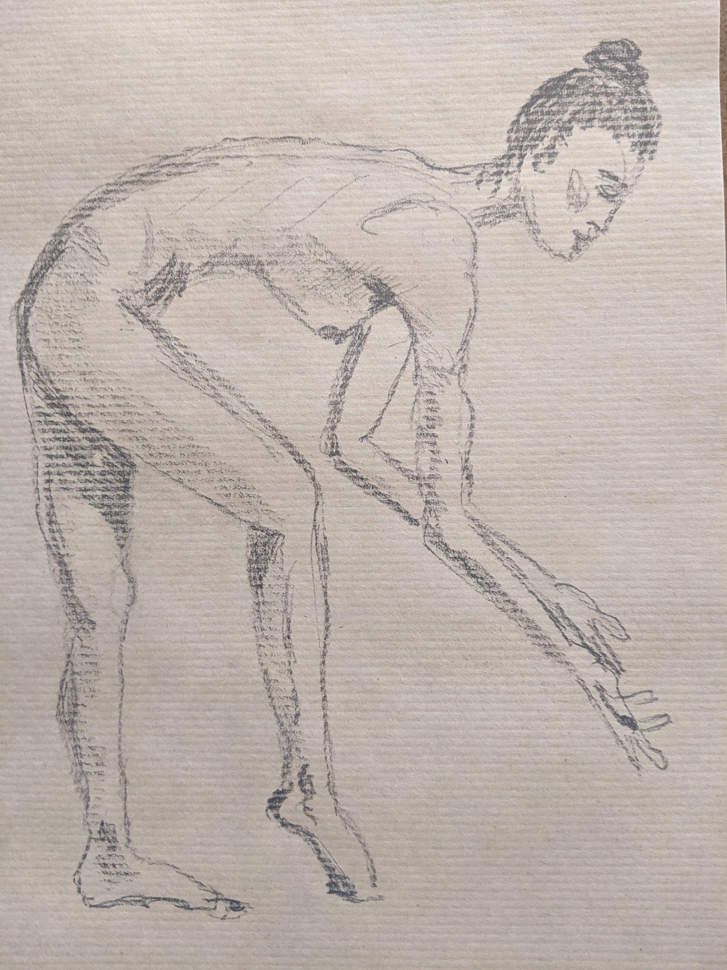 Croquis graphite et hachures sur papier Kraft réalisé à l'atelier Artgraphe Paris  cours de dessin