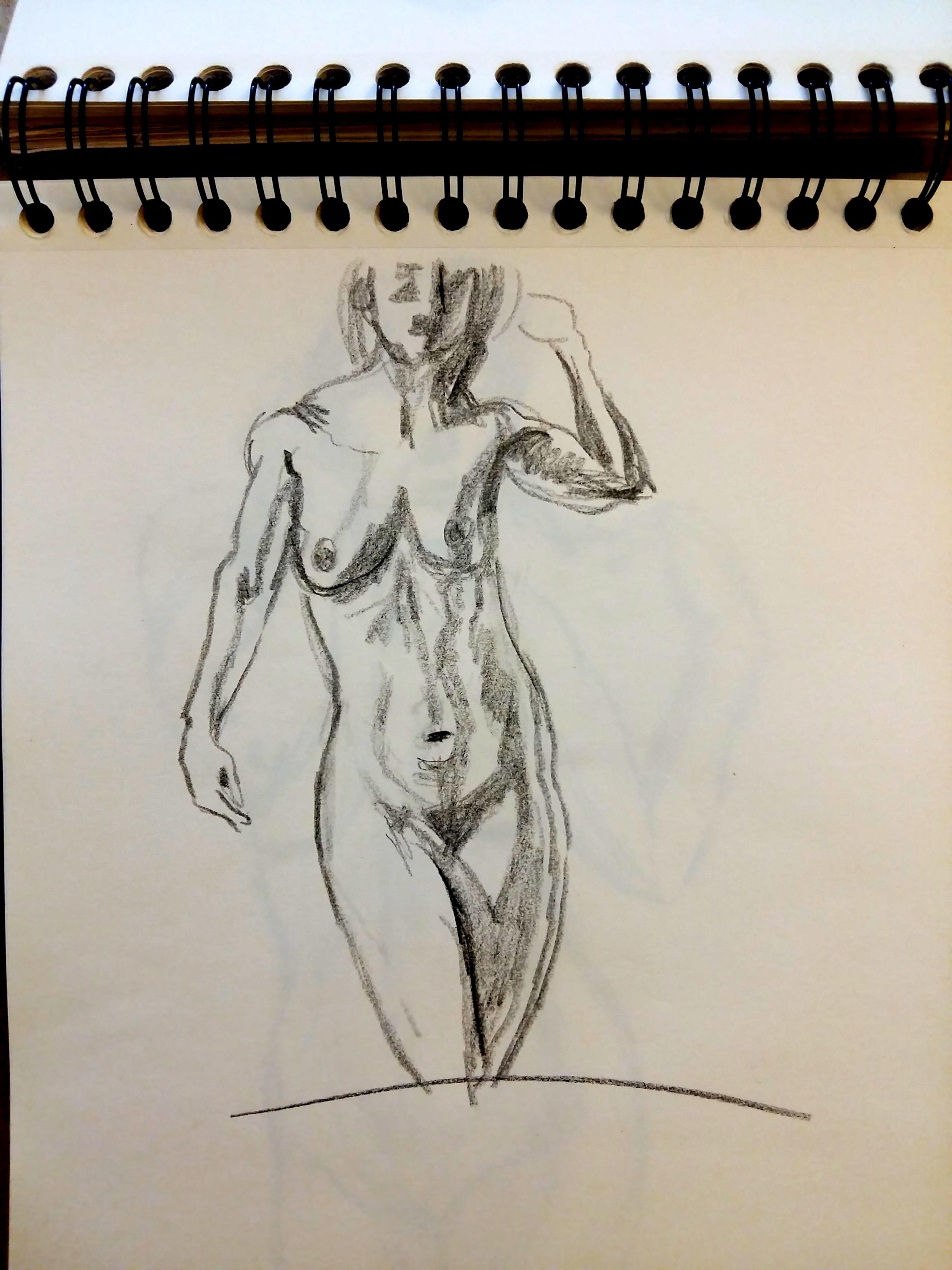 Esquisse rapide carnet de croquis buste femme face niveaux de gris  cours de dessin