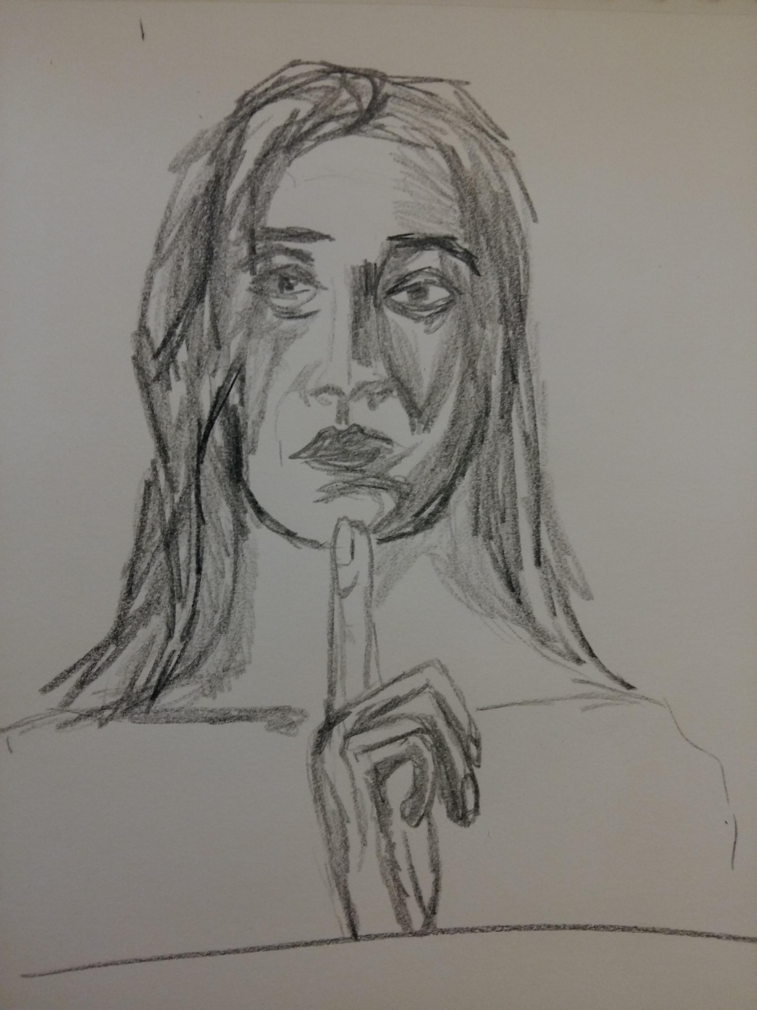 Portrait graphite sur papier face femme  cours de dessin