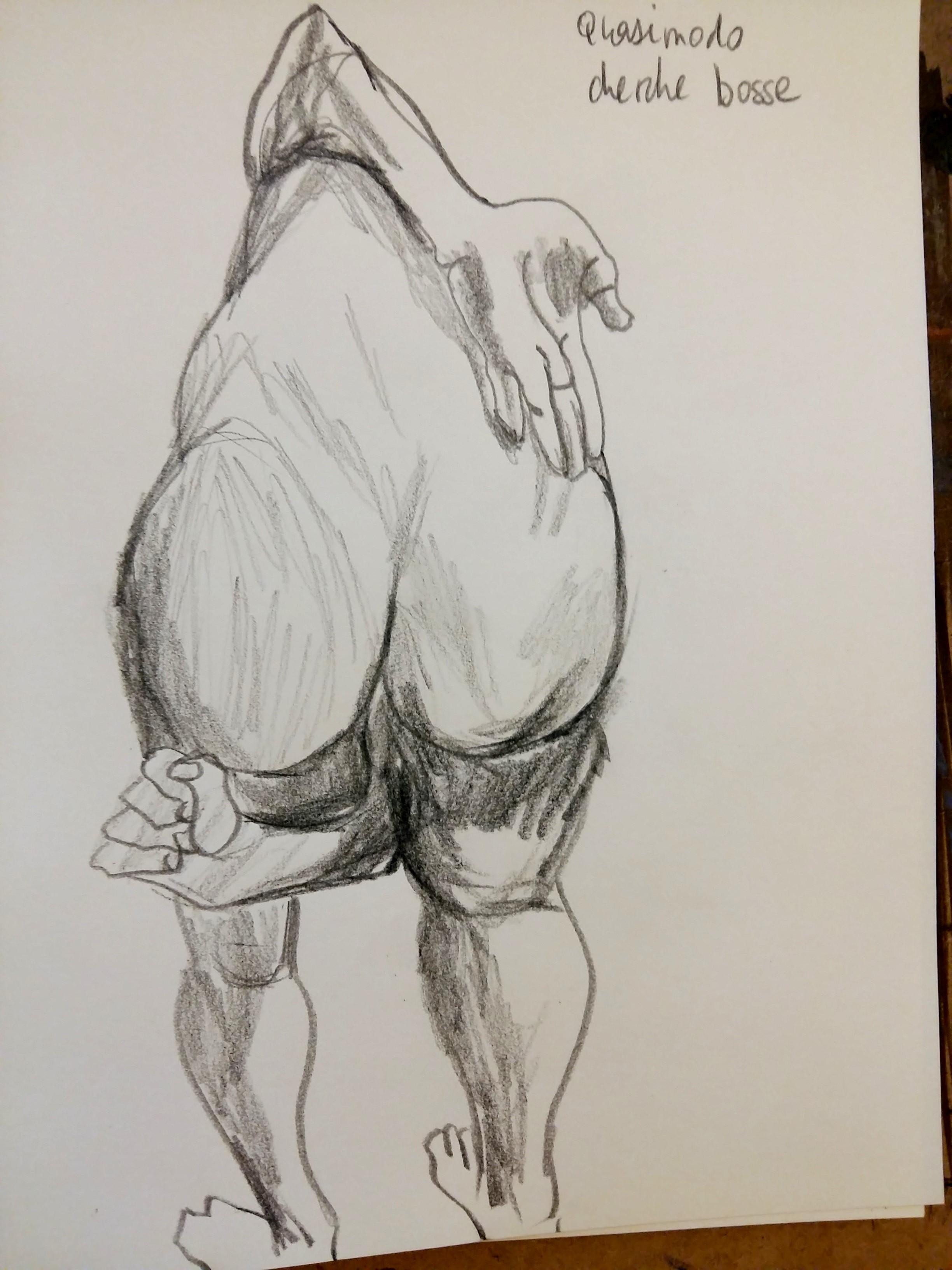 Dessin de dos crayon papier hachures raccourci perspectives  cours de dessin