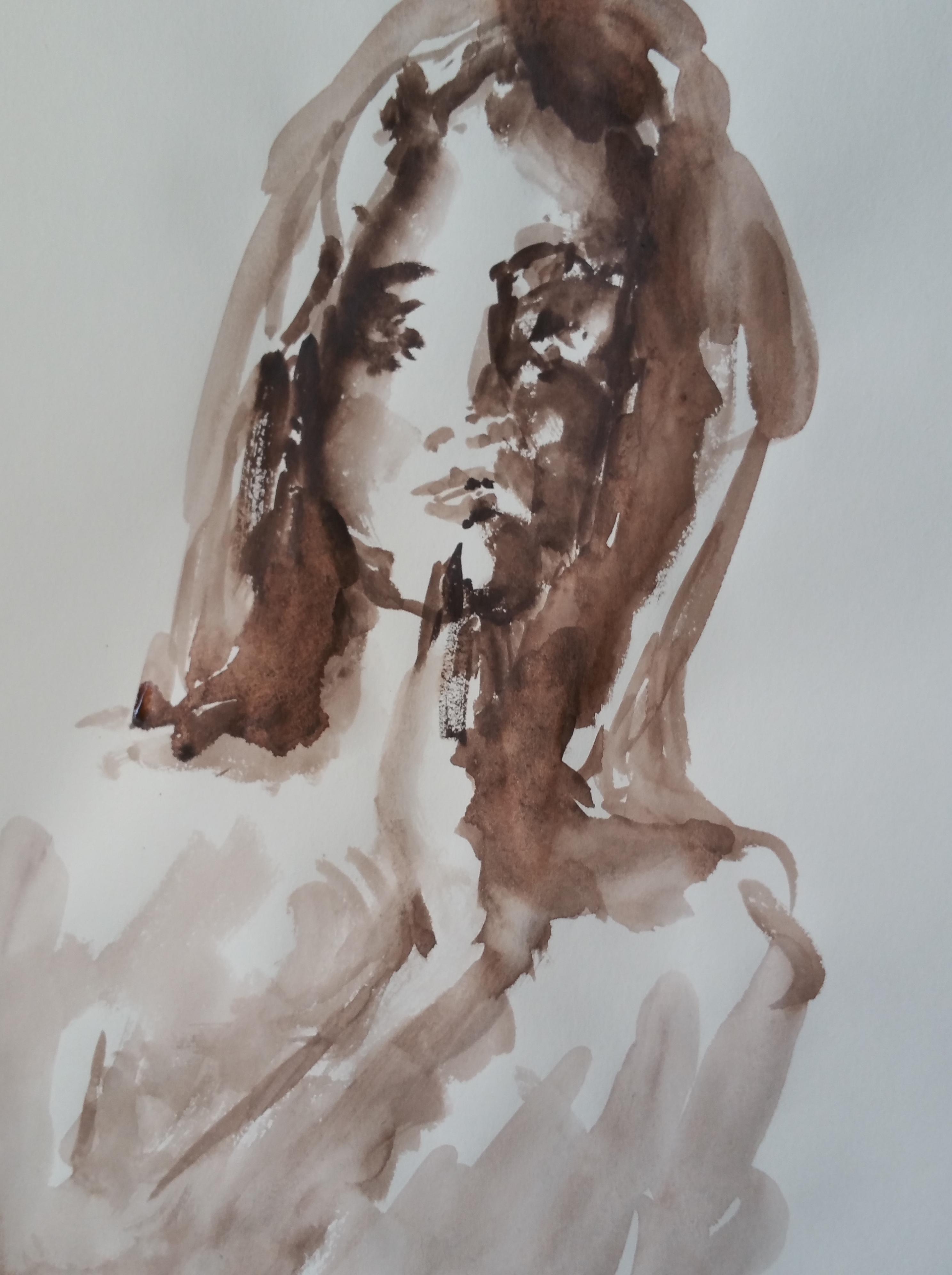 Portrait face femme aquarelle ocre  cours de dessin