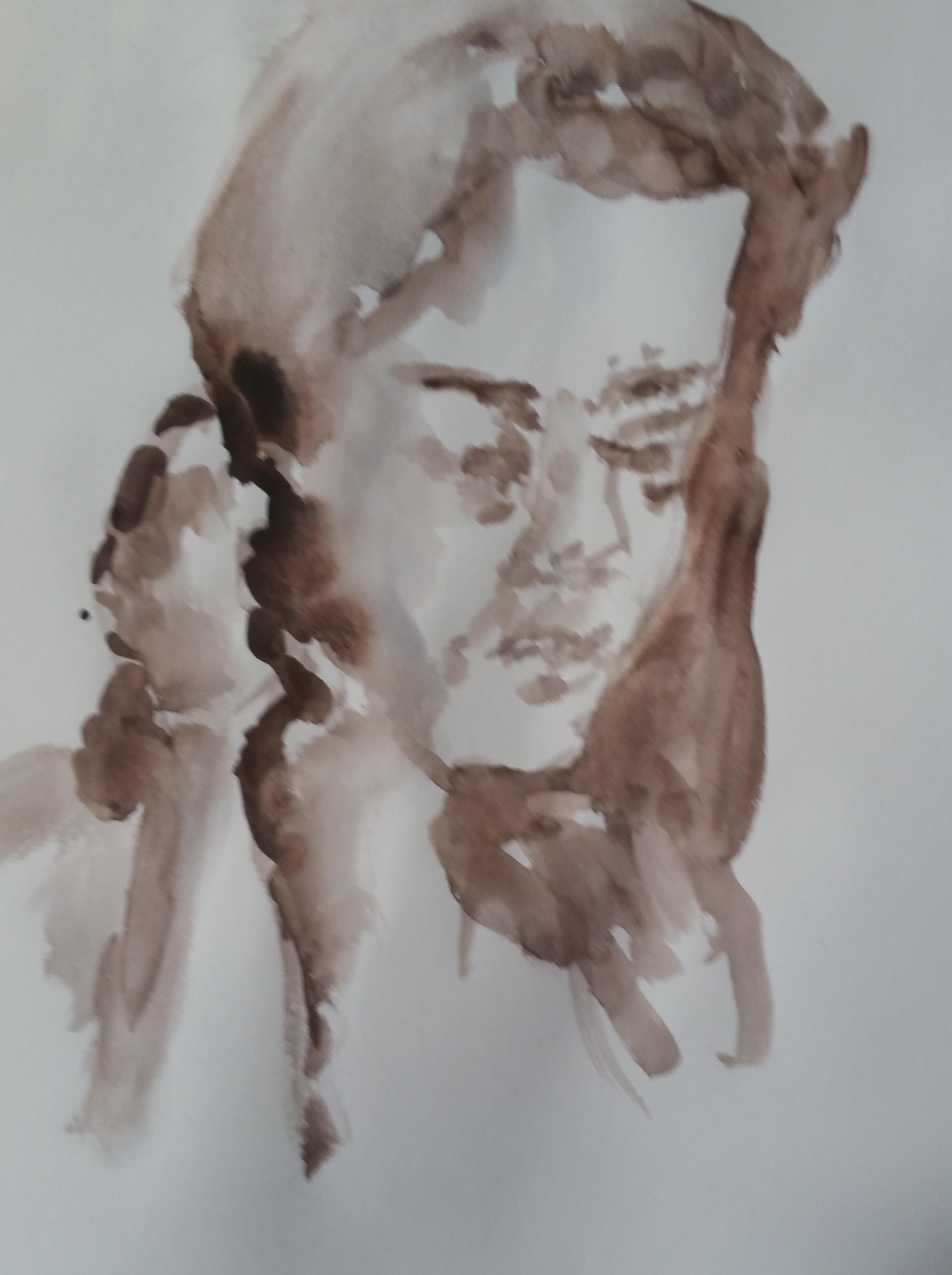 Croquis portraits trois quarts face femme aquarelle  cours de dessin
