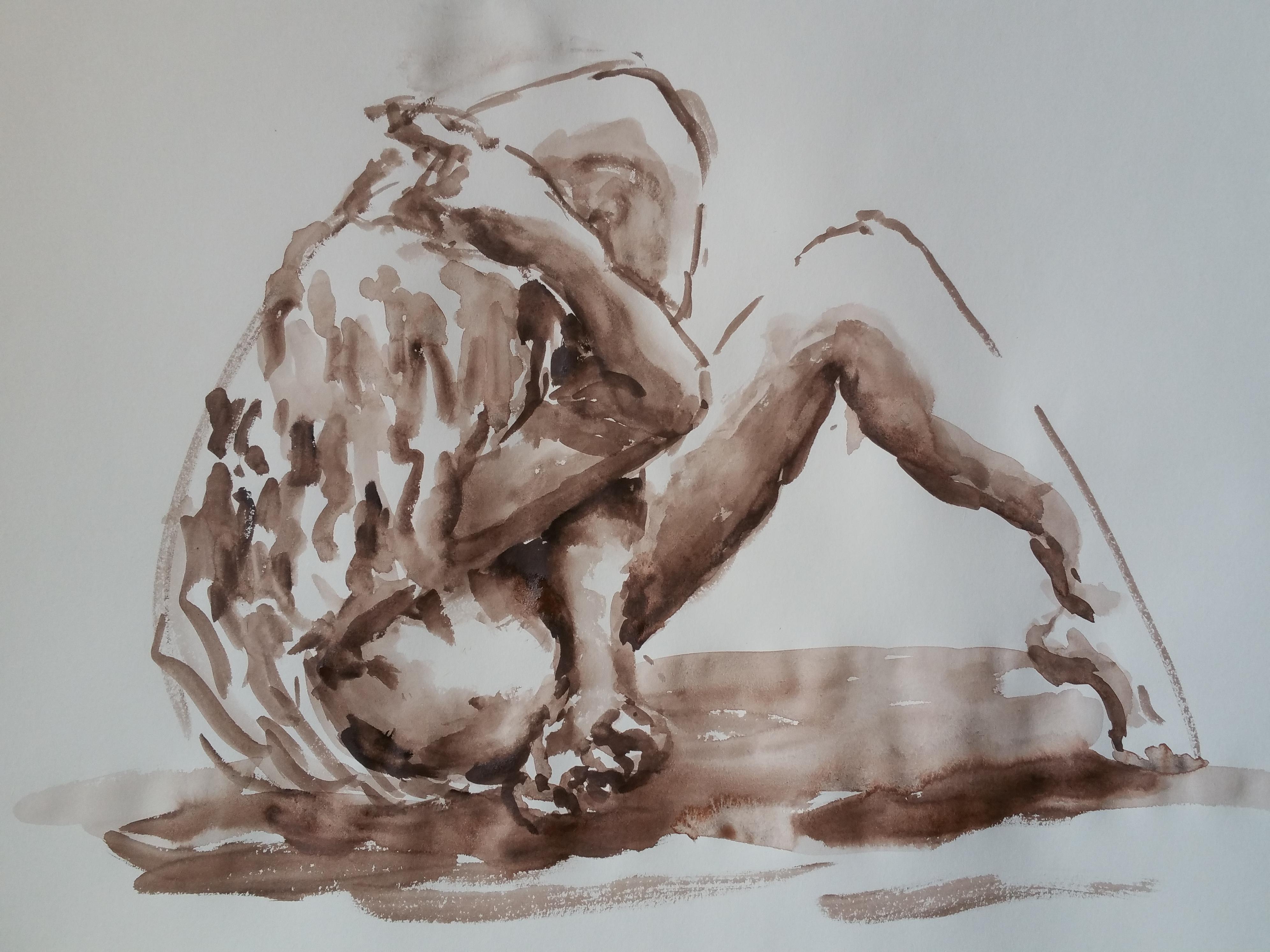 Technique mixte pause assise aquarelle marron sur papier  cours de dessin