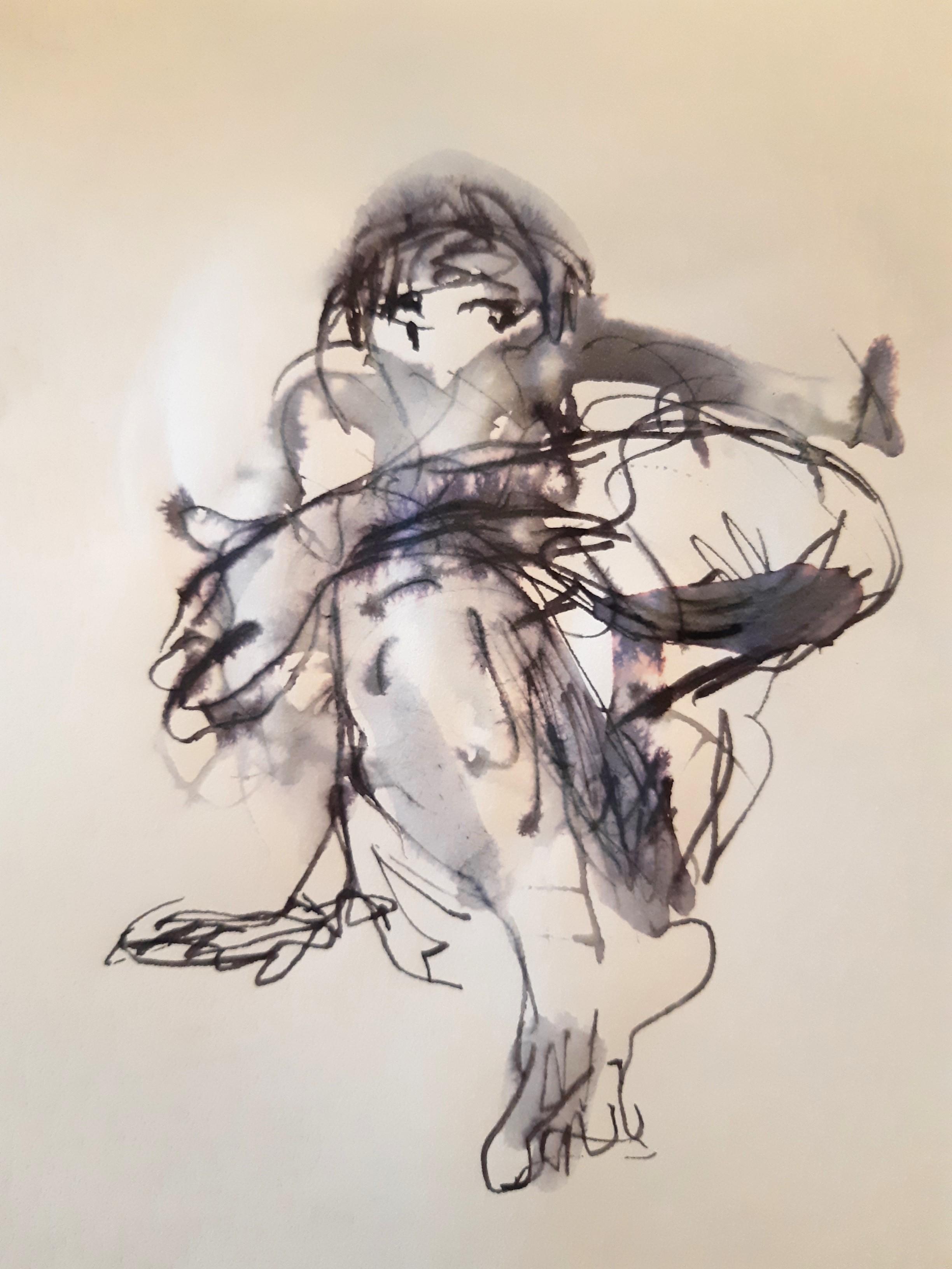 Technique mixte plume encre peinture blanche sur papier dessin  cours de dessin