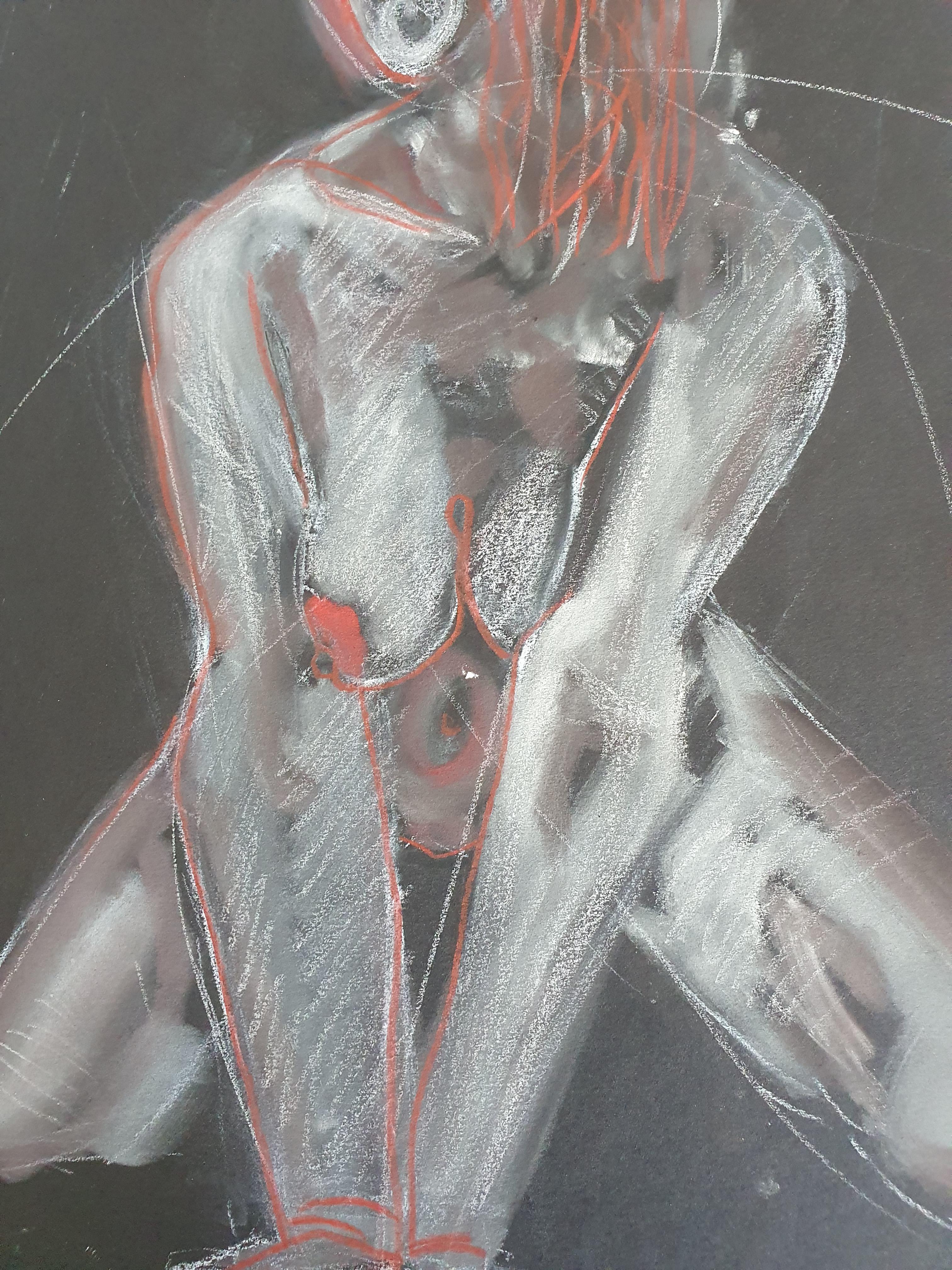 Dessin technique mixte sur papier noir pastel rouge et blanc  cours de dessin