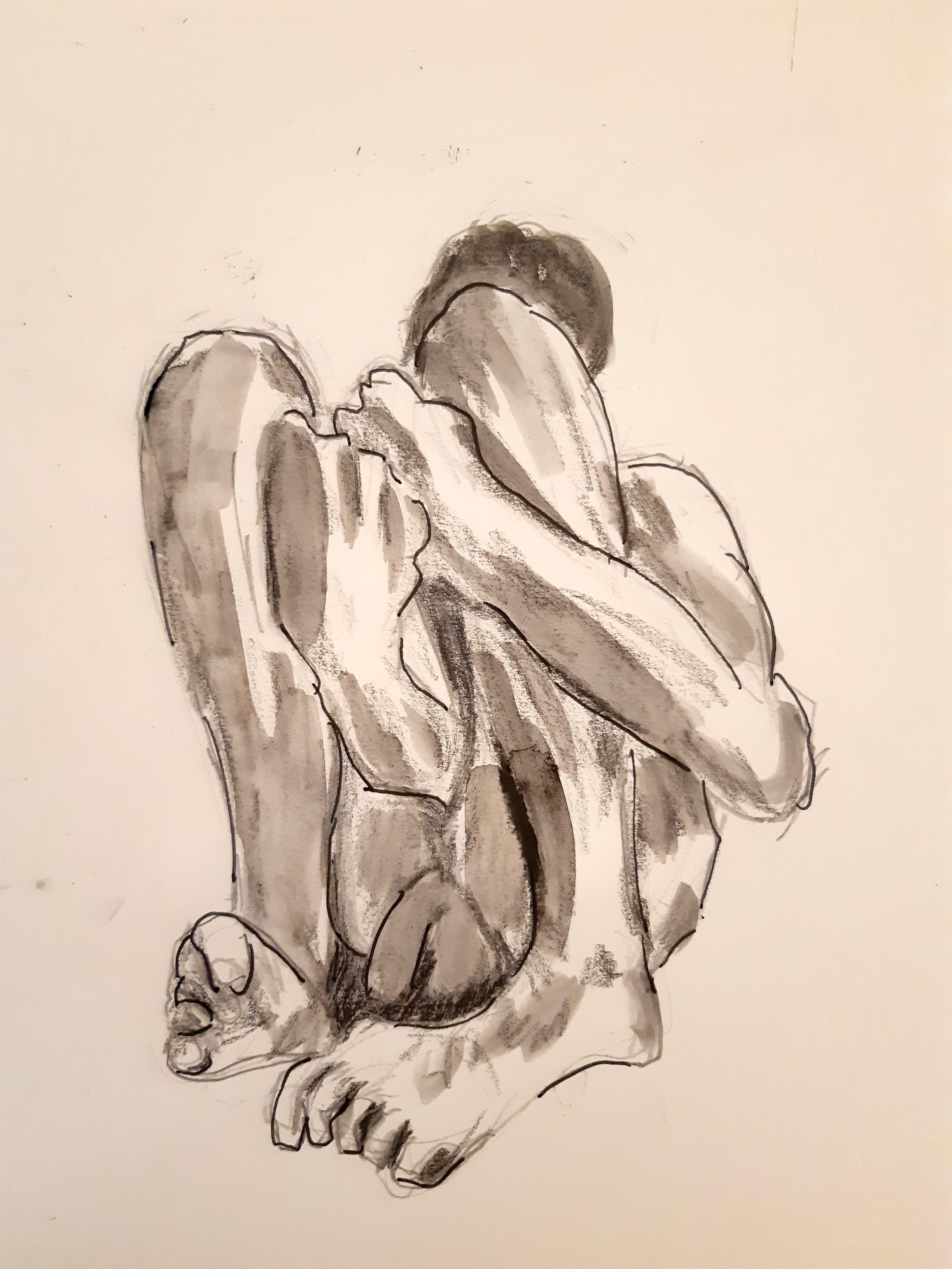 Poses regroupées technique mixte feutre crayon papier esquisse dessin  cours de dessin