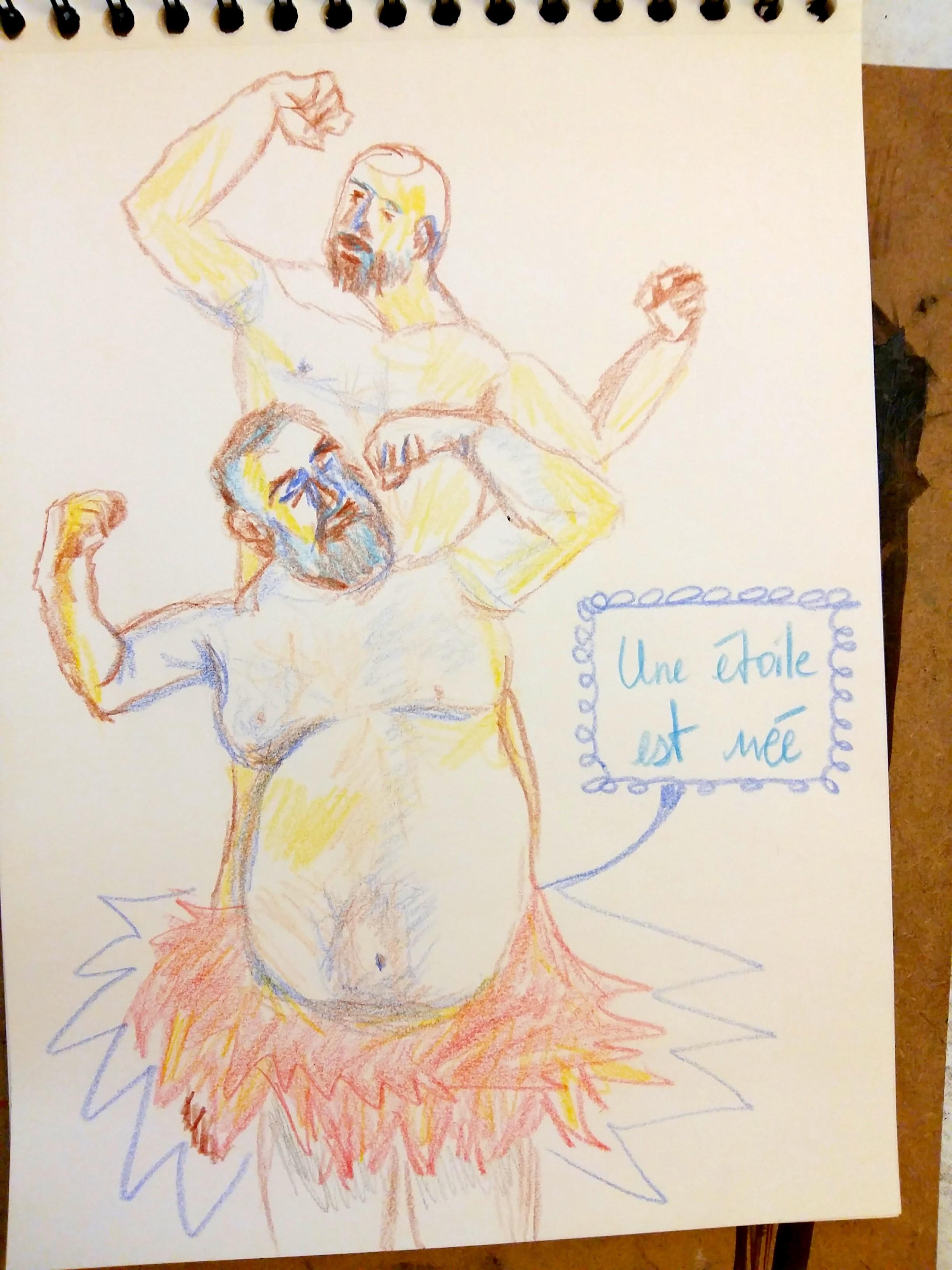 Dessin crayon couleur danseurs tutu carnet de croquis  cours de dessin