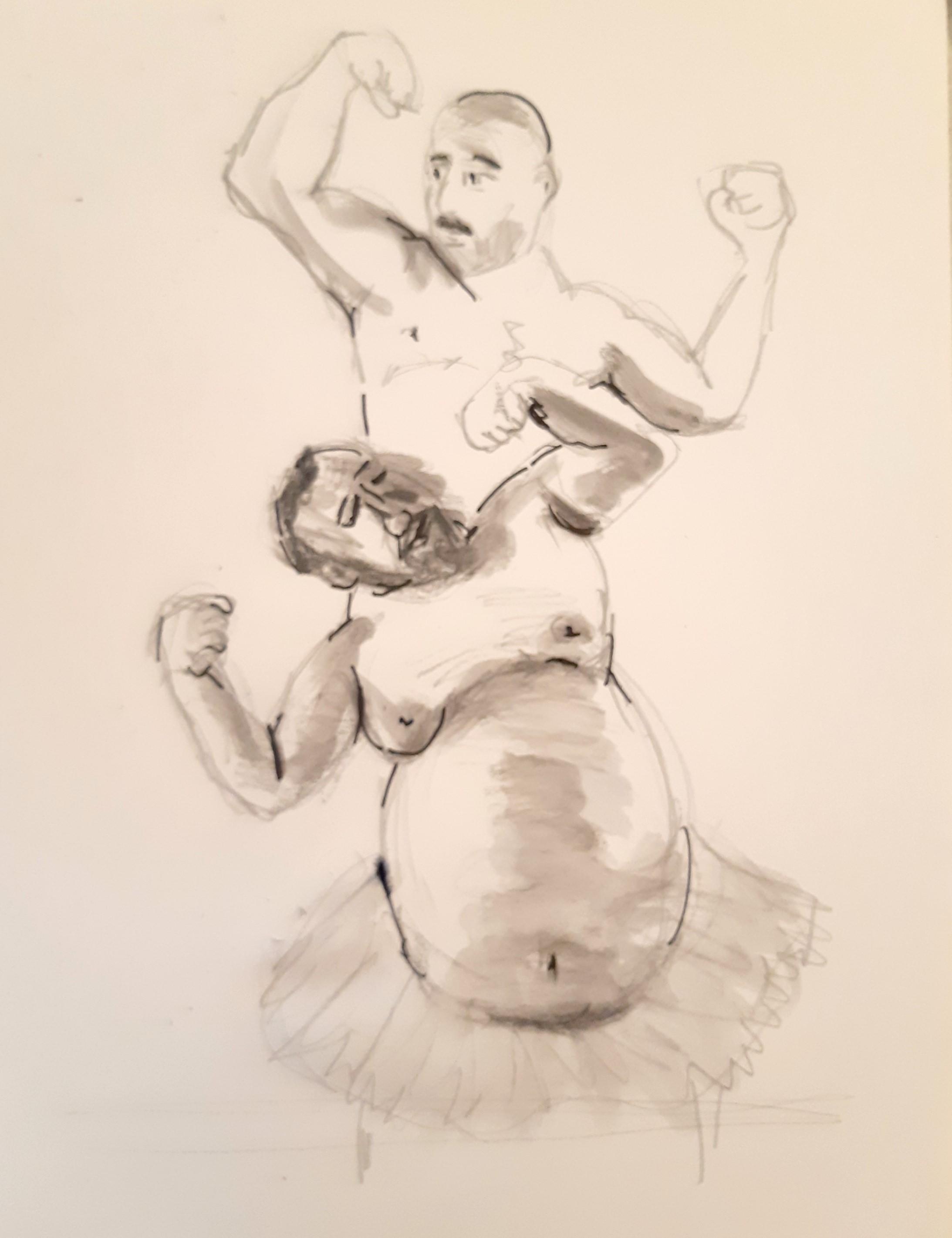 Dessin danseurs crayon papier plus encre de Chine et eau  cours de dessin