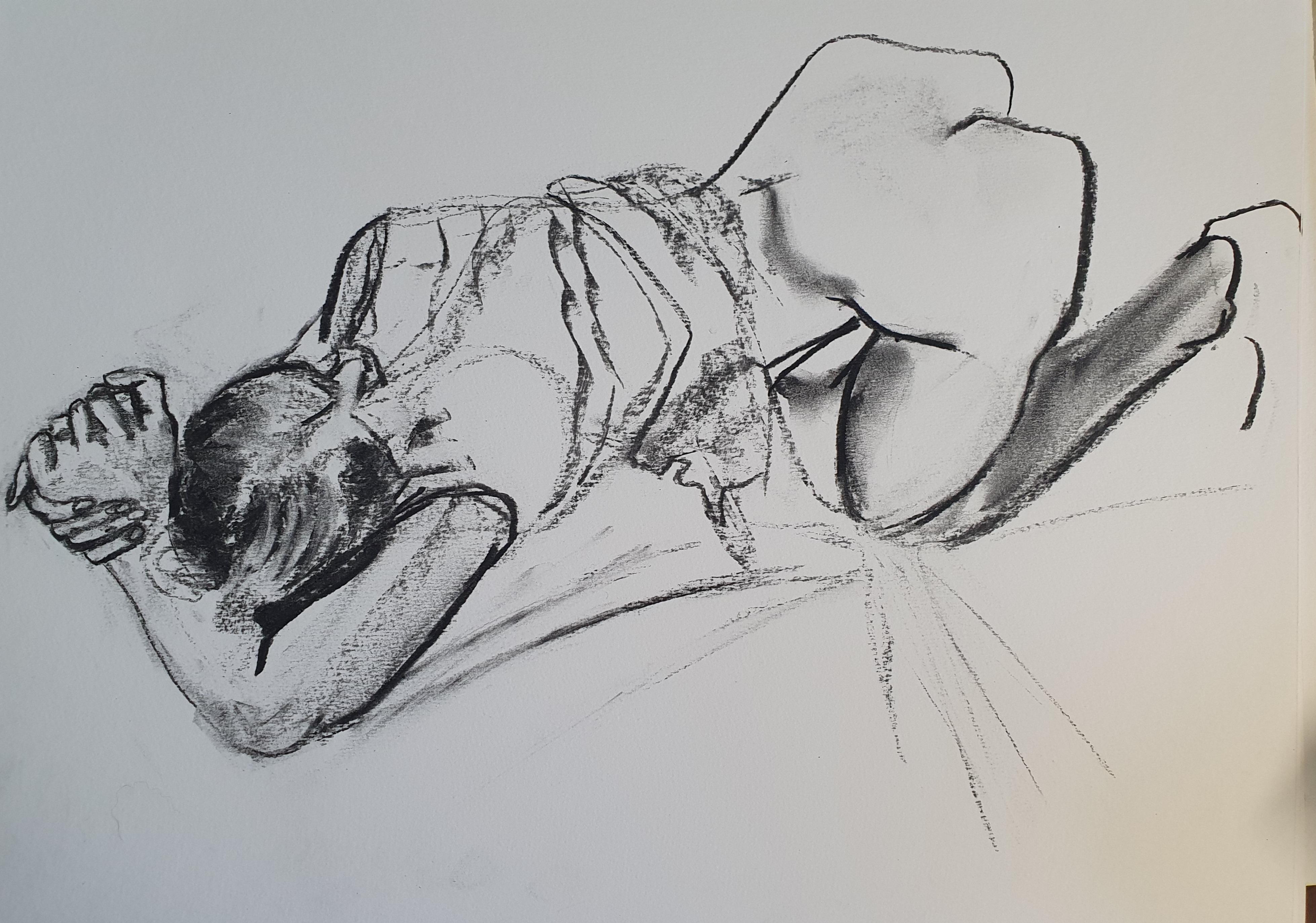 Esquisse fusain carbone inspiration  egon schiele  cours de dessin