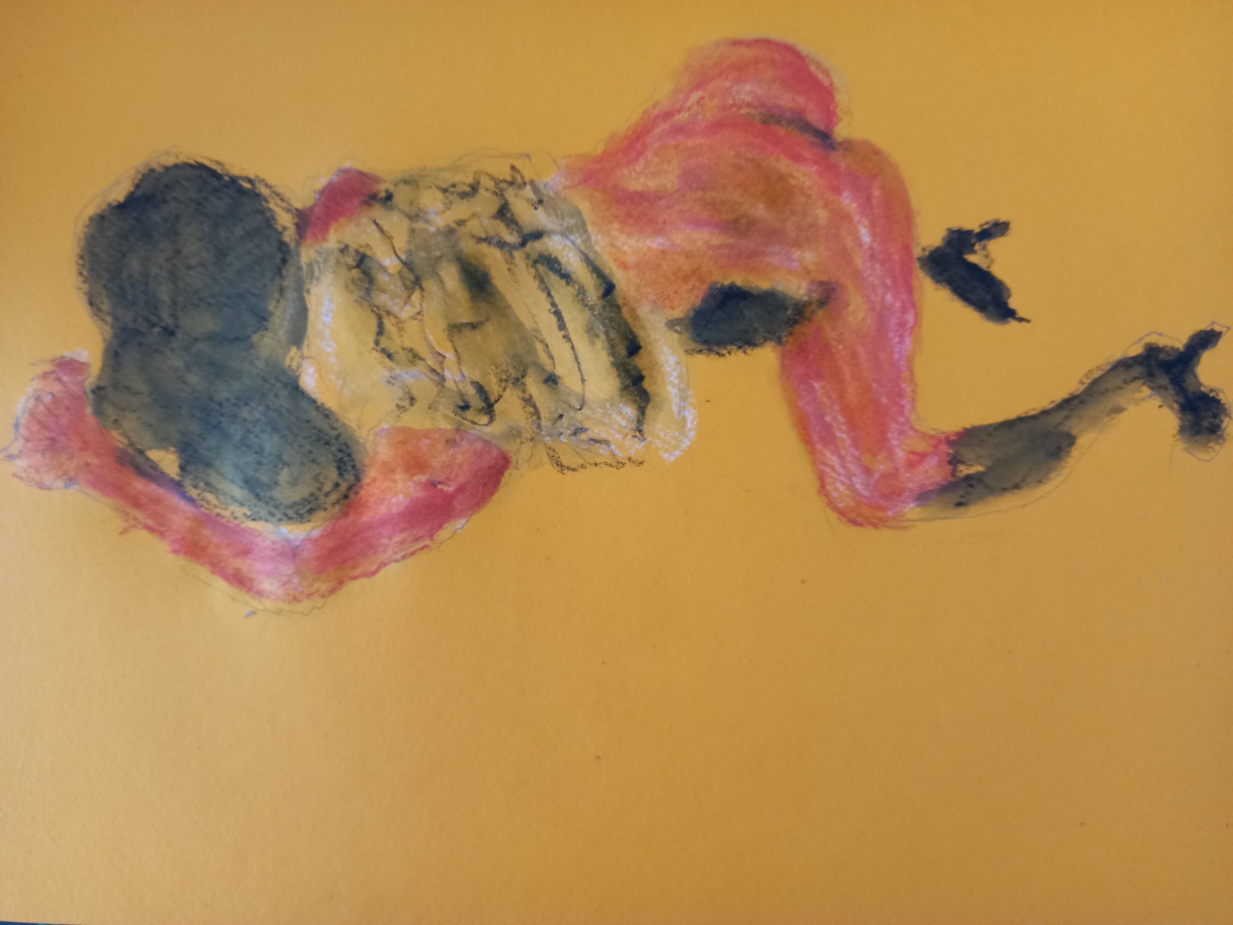 Dessin pastel  à partir d'une pause et d'un tableau  egon schiele  cours de dessin