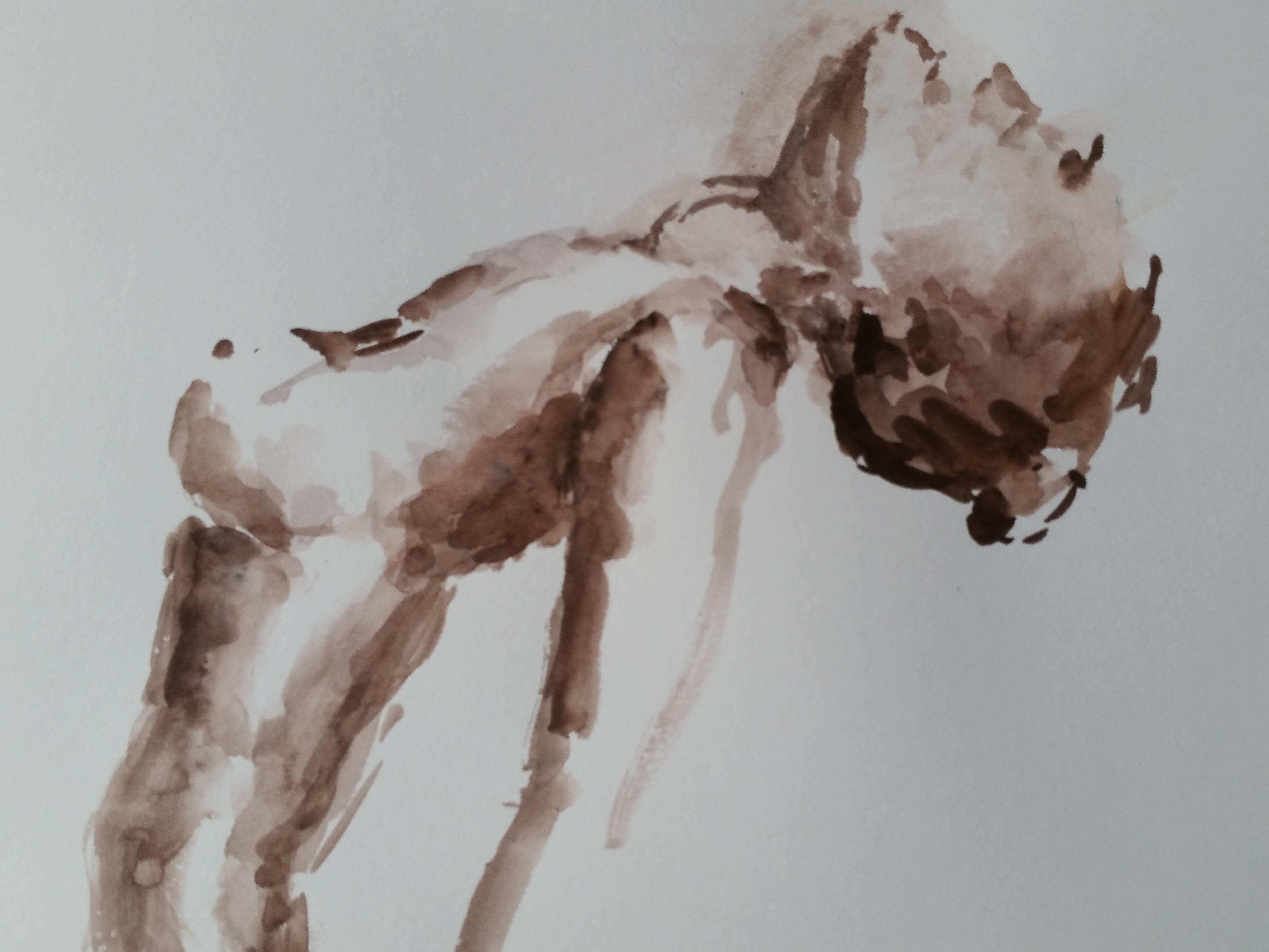 Corps profil extension croquis à l'aquarelle ocre  cours de dessin