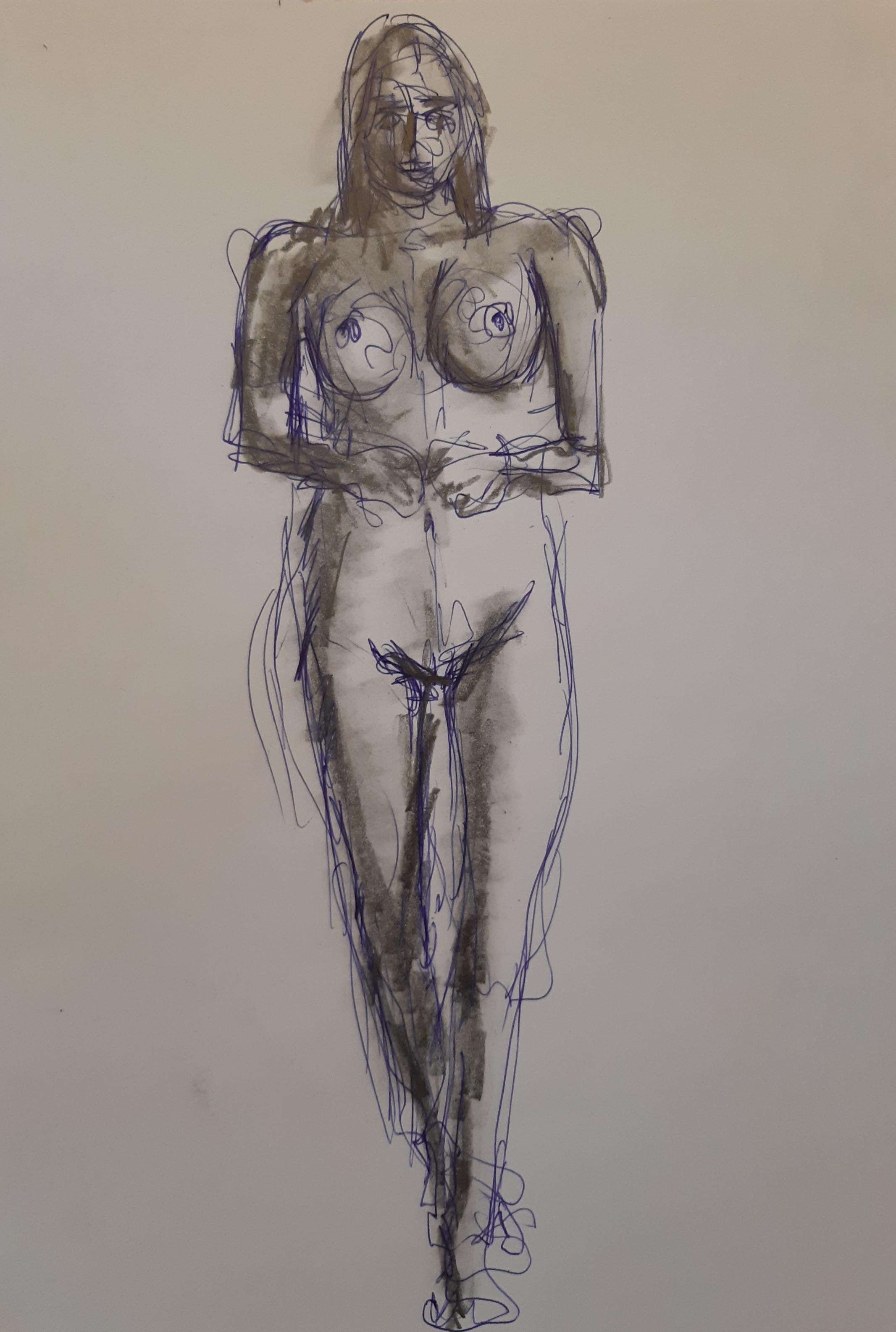 Dessin technique mixte stylo à bille graphite à l'estompe sur papier  cours de dessin